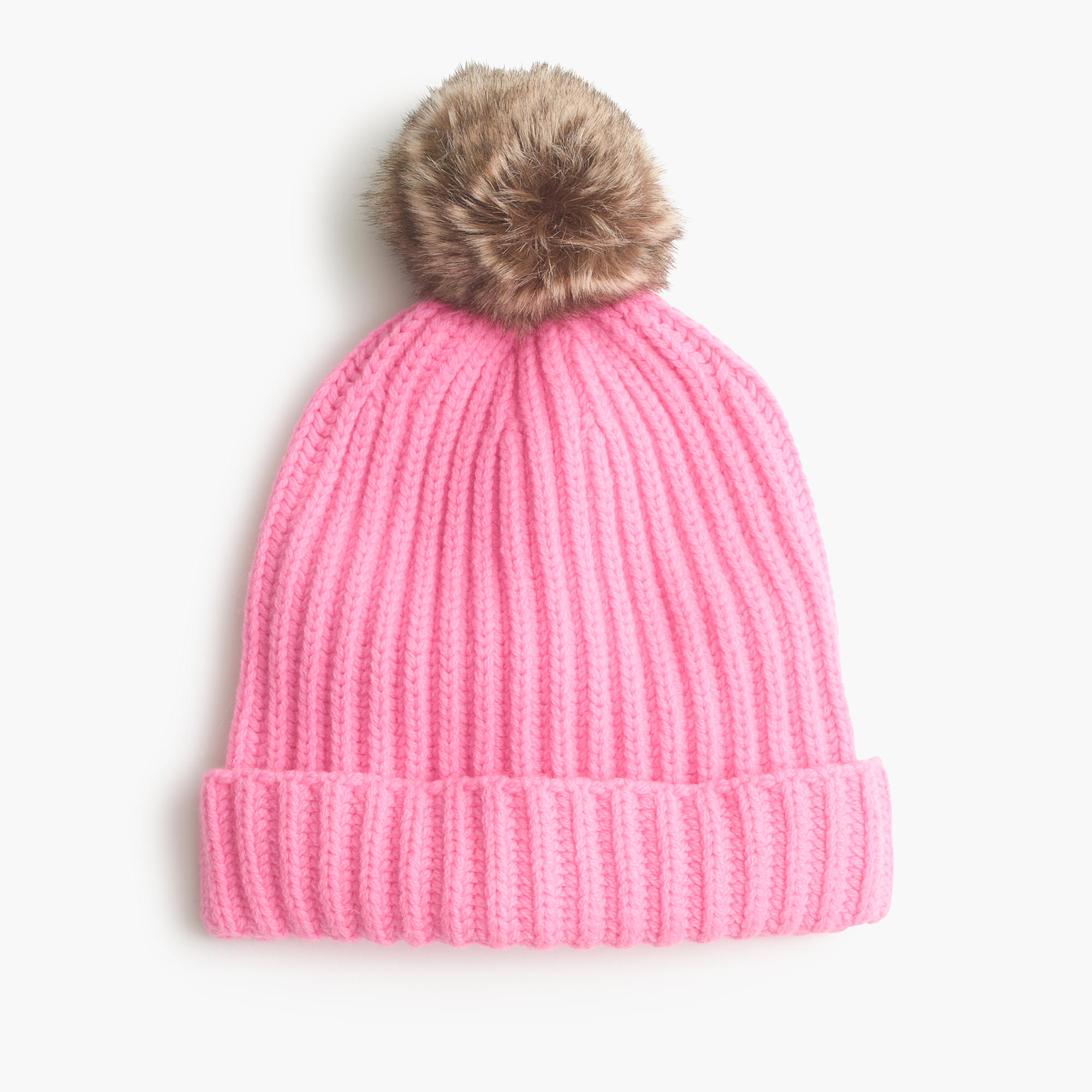 aedee822ad2e49 J.Crew Pom-pom Beanie With Faux Fur in Pink - Lyst
