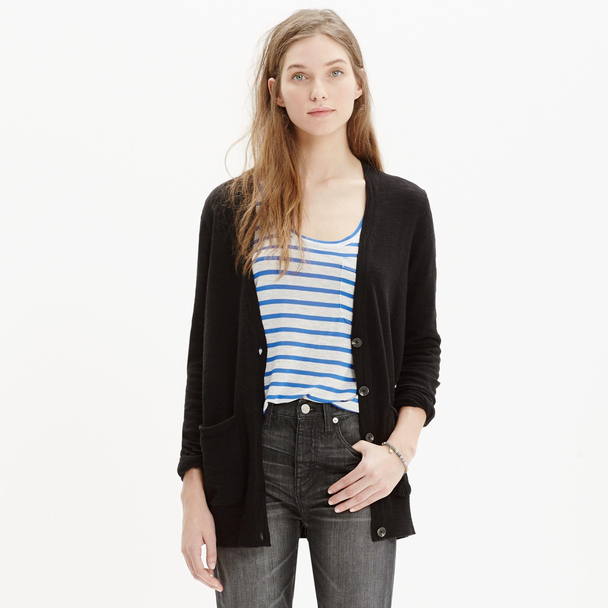 Madewell Graduate Cardigan Sweater in Black | Lyst