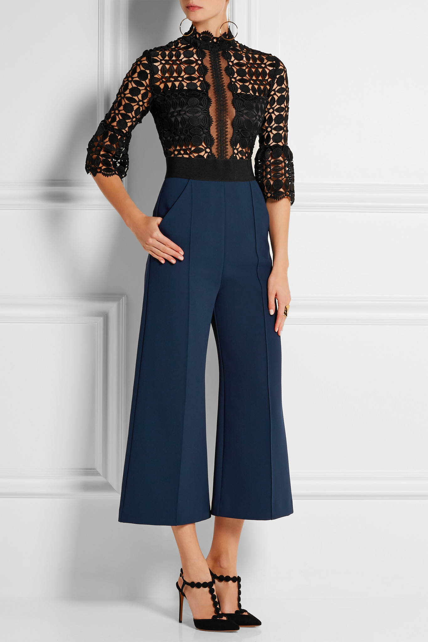 eb8f6762da8d Self-Portrait Cropped Guipure Lace And Crepe Jumpsuit in Black - Lyst