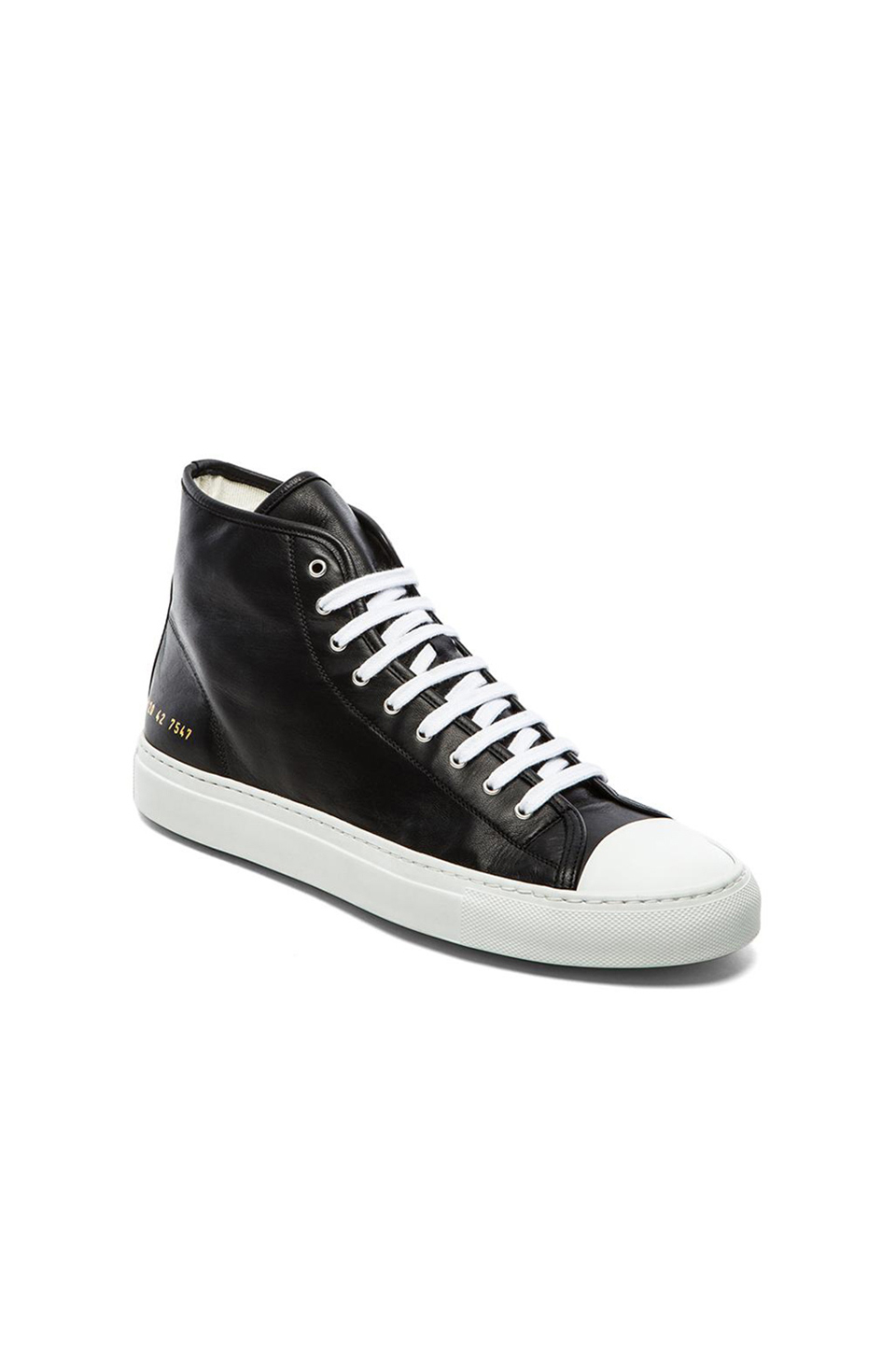 Woman by Common Projects Black & White Tournament High Cap Toe Sneakers VFW5Z
