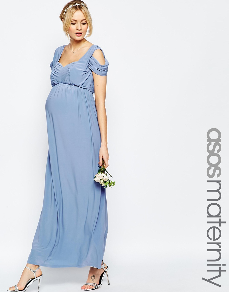 Asos maternity wedding drape cold shoulder maxi dress in for Maxi maternity dresses for weddings