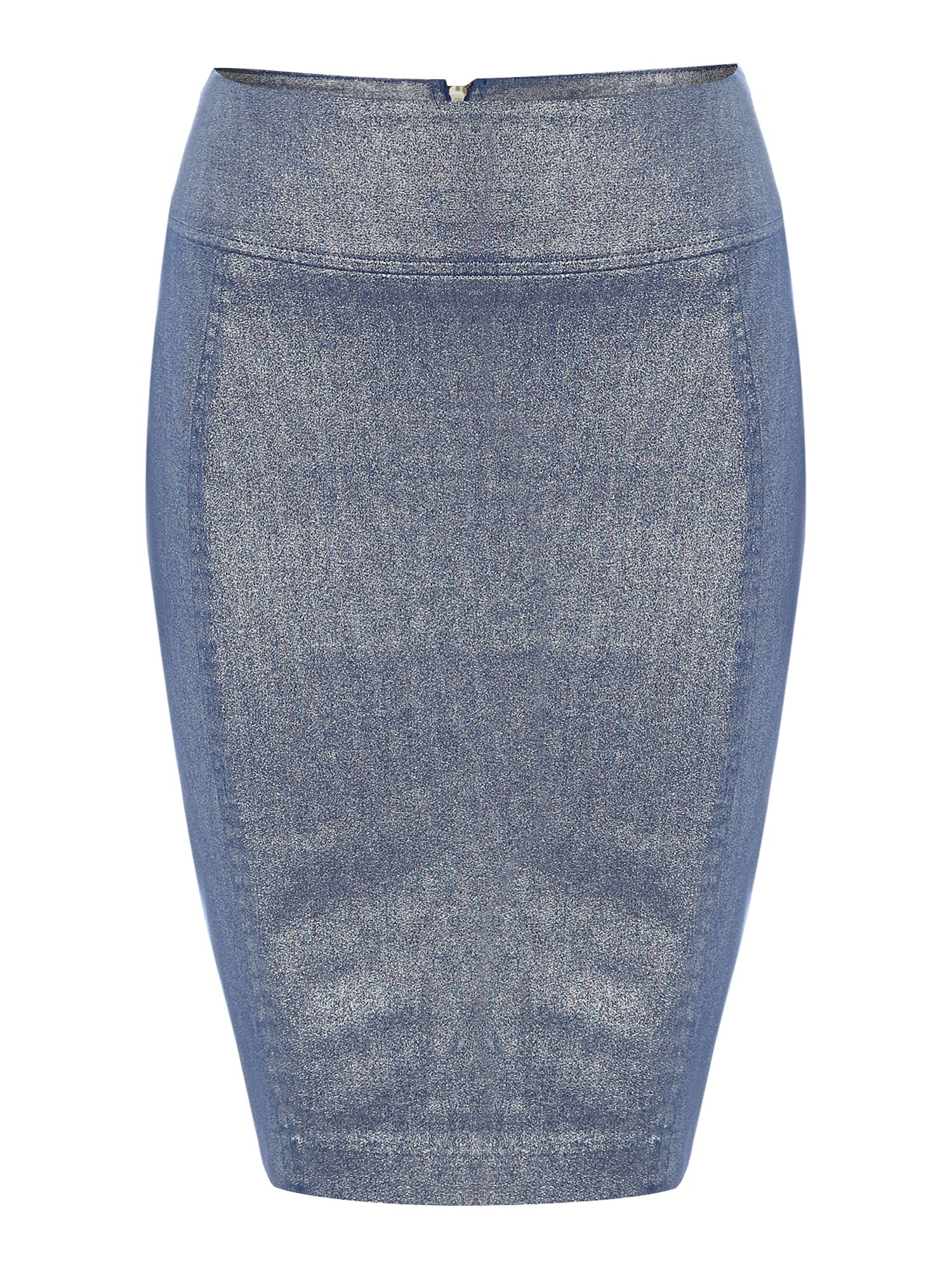 biba blue coated denim pencil skirt with zip up back