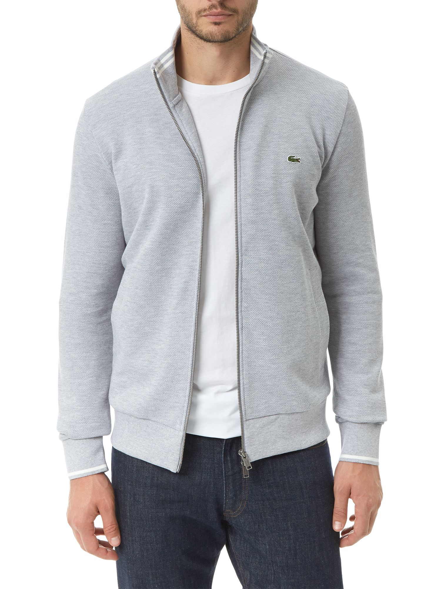 Lacoste High Collar Zip Sweater in Gray for Men | Lyst