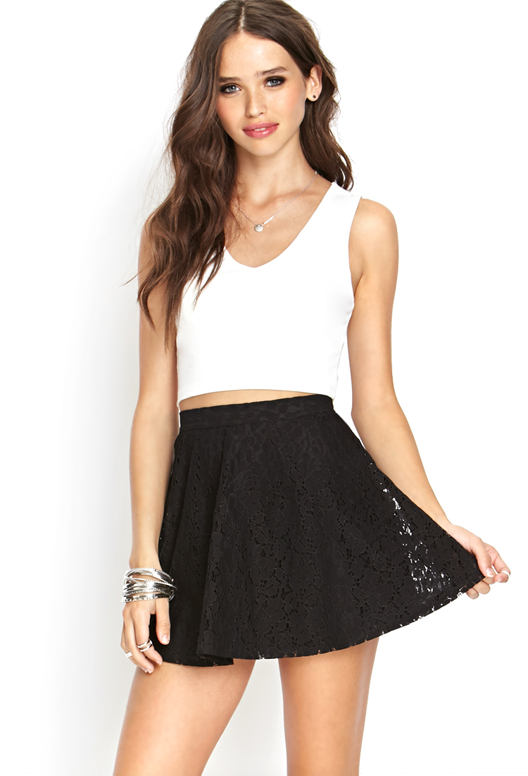 Forever 21 Lace A-line Skirt in Black | Lyst