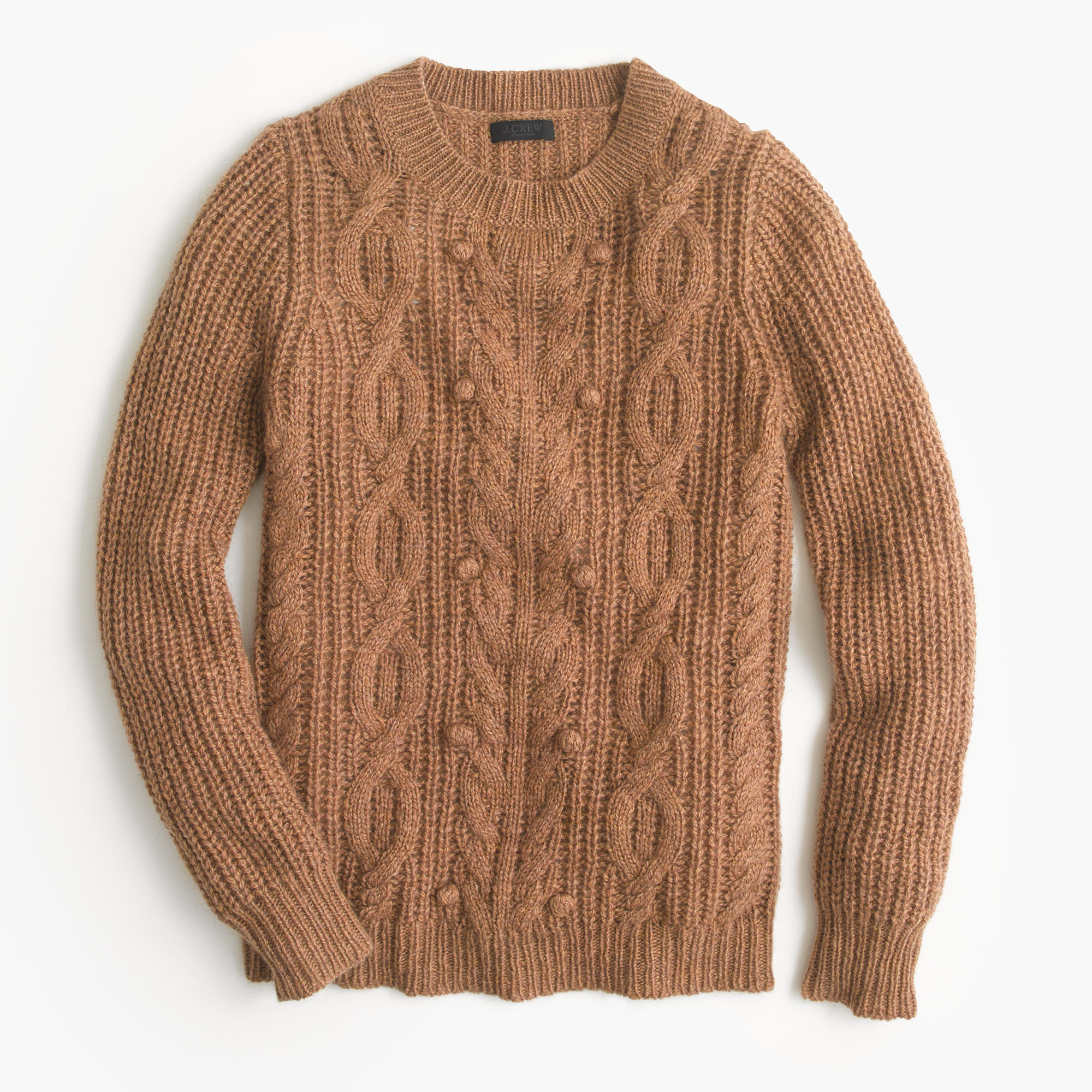 J.crew Italian Cashmere Cable Sweater With Pom-poms in Brown | Lyst