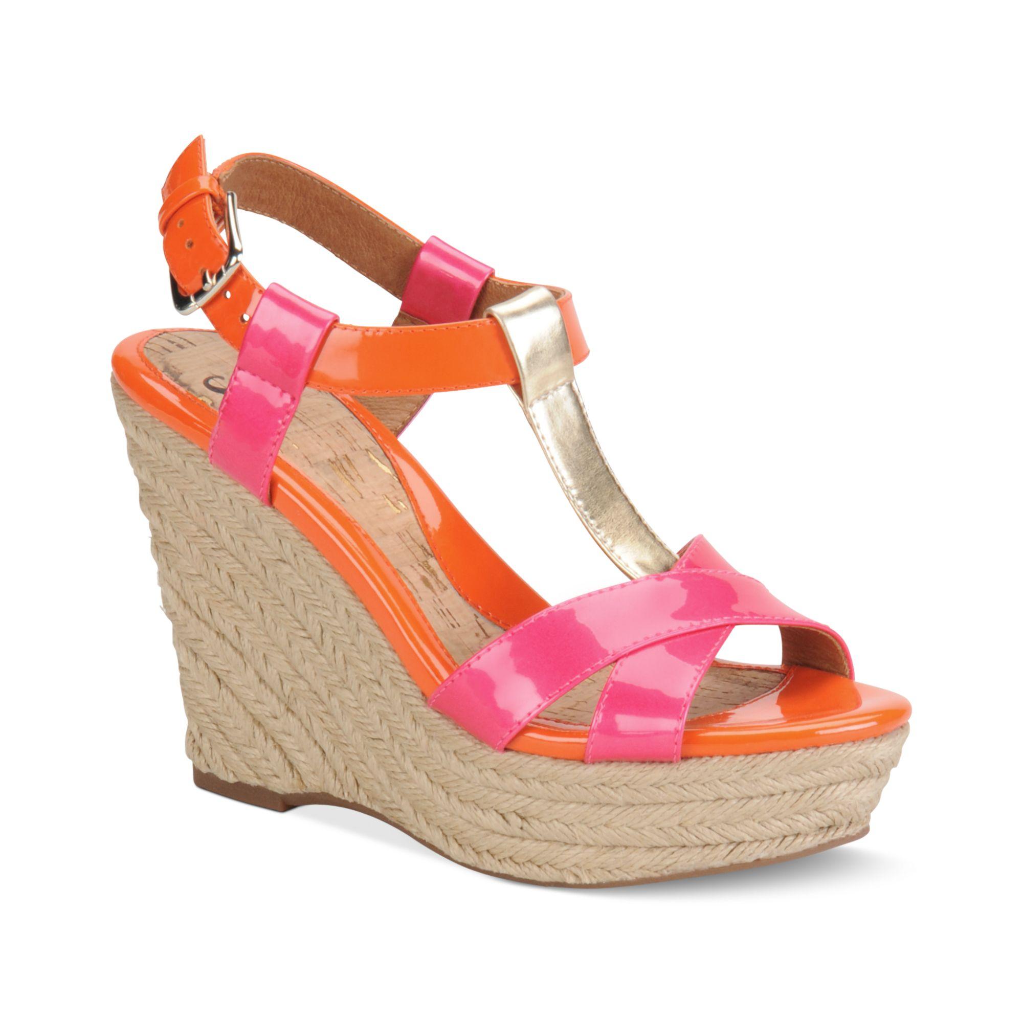 s 246 fft pedra platform wedge sandals in blue orange neon