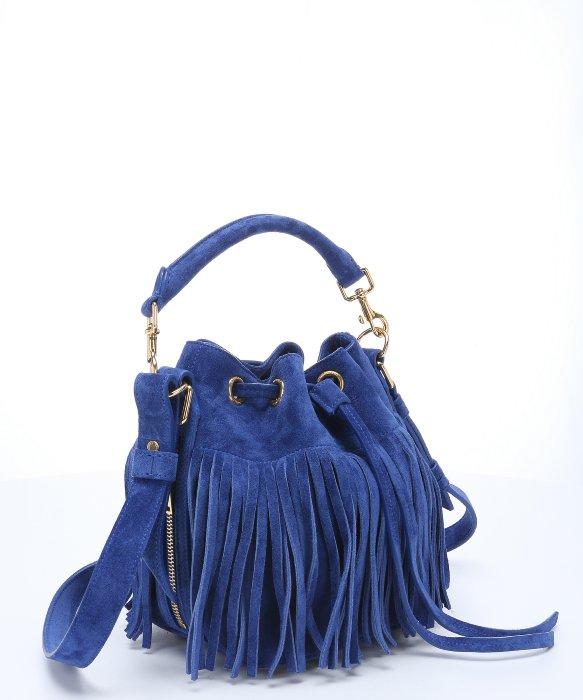 clutch bag ysl - emmanuelle small suede fringe bag, black