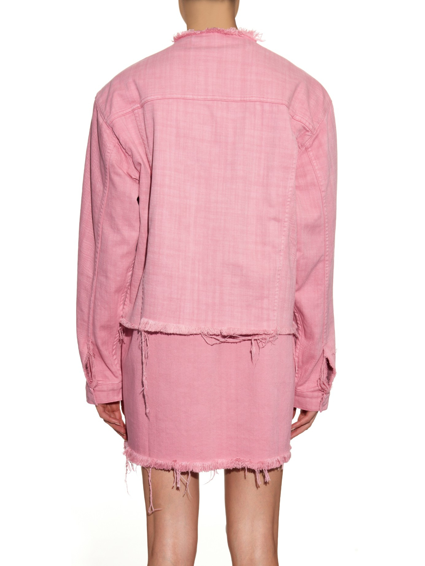 Marques'almeida Frayed Denim Jacket in Pink | Lyst