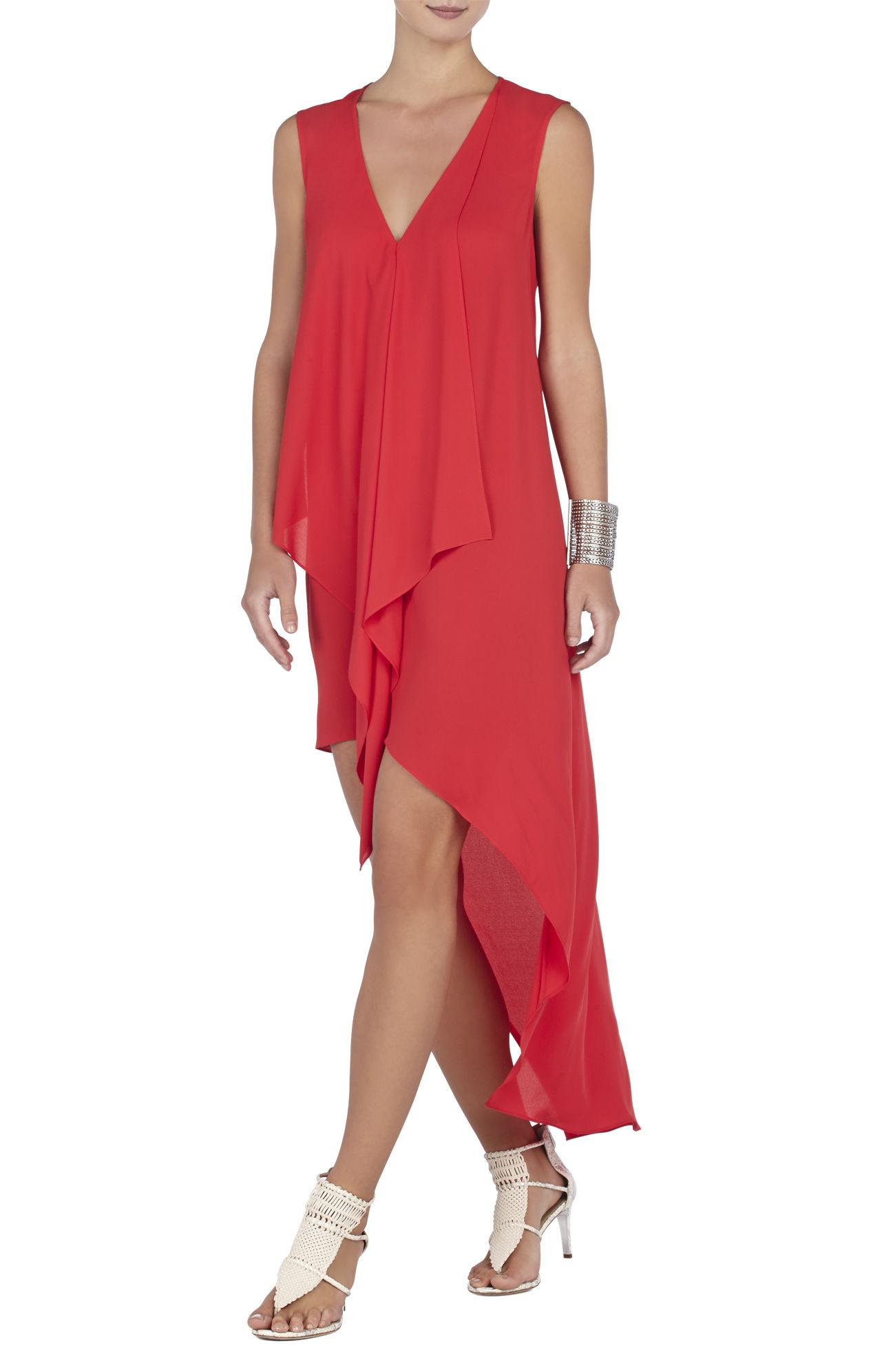 BCBG Red Evening Gown Ruffles Cascade – Dresses for Woman