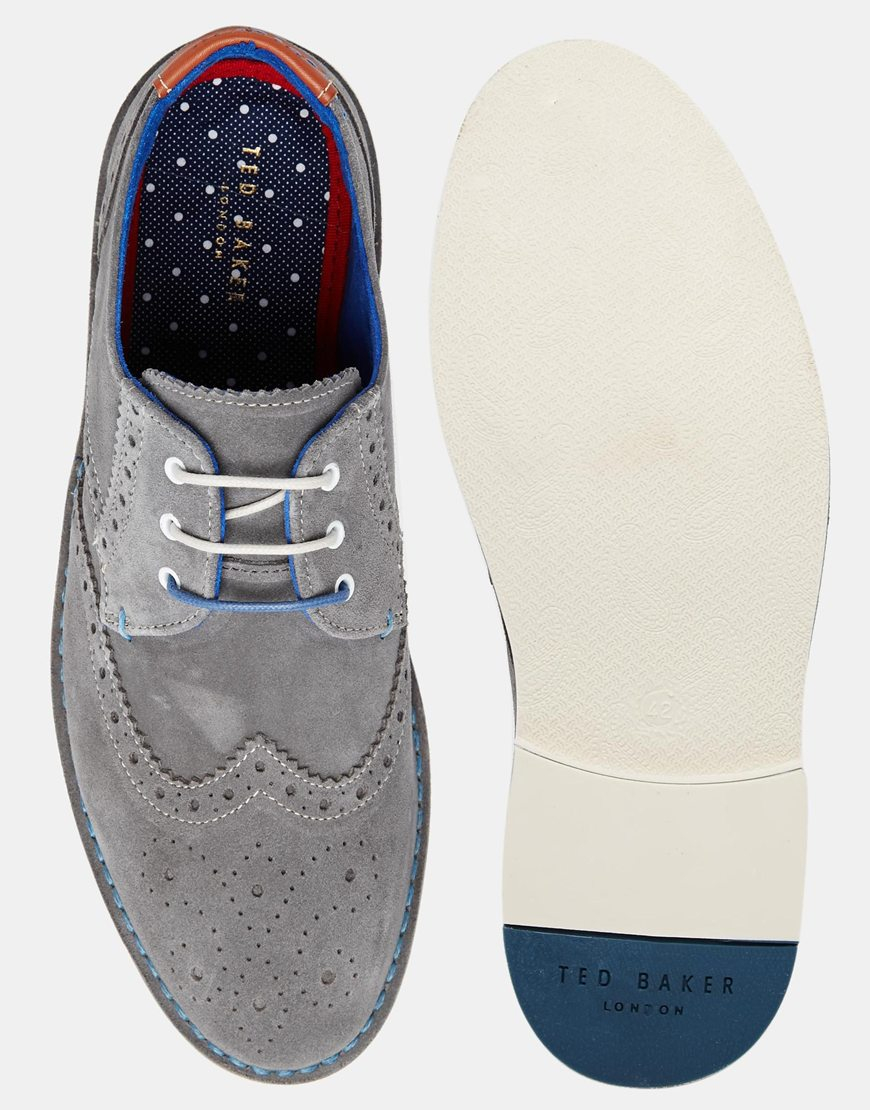 5de985d34 Lyst - Ted Baker Jamfro Suede Brogue Shoes in Gray for Men