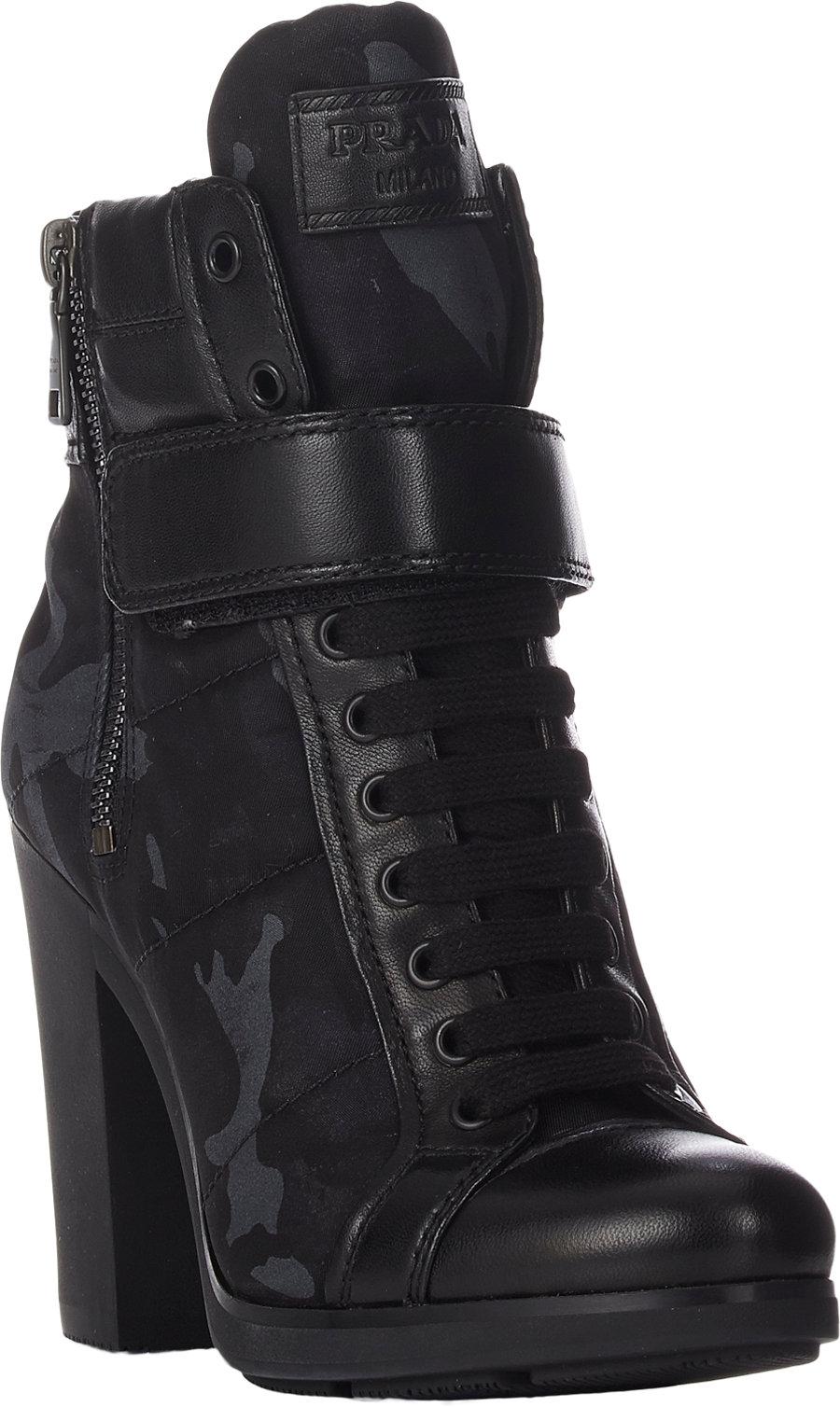 Prada linea rossa Camo-Print Double-Zip Boots in Blue | Lyst