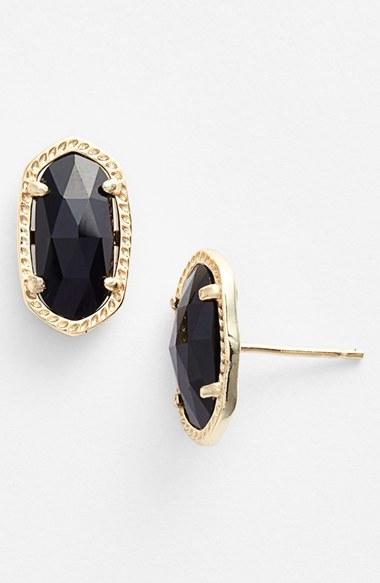 Kendra Scott Ellie Oval Stud Earrings In Black Lyst