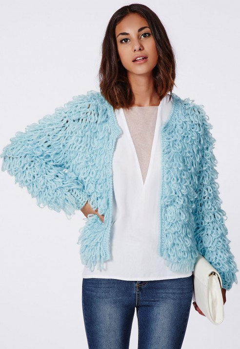 lyst missguided loop knit shrug cardigan blue in blue