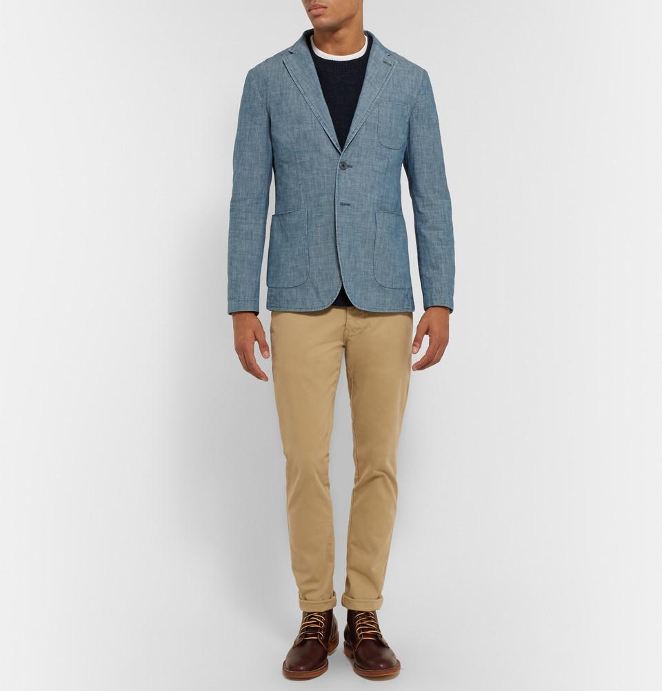 aspesi blue slim fit chambray blazer in blue for men lyst. Black Bedroom Furniture Sets. Home Design Ideas