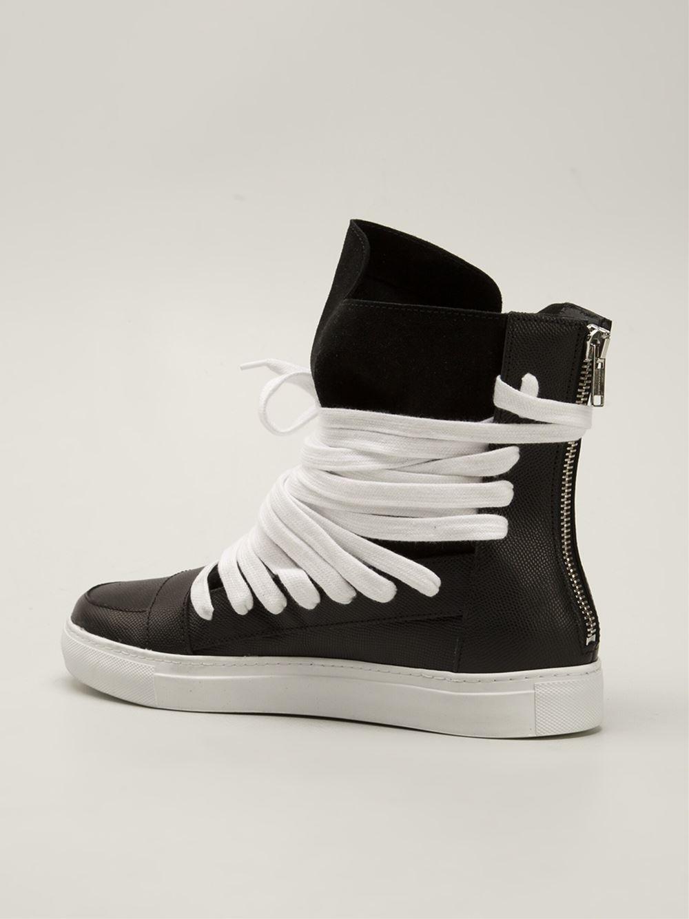 Lyst - Kris Van Assche Panelled Hi-Top Sneakers in Black for Men fdce2eb50