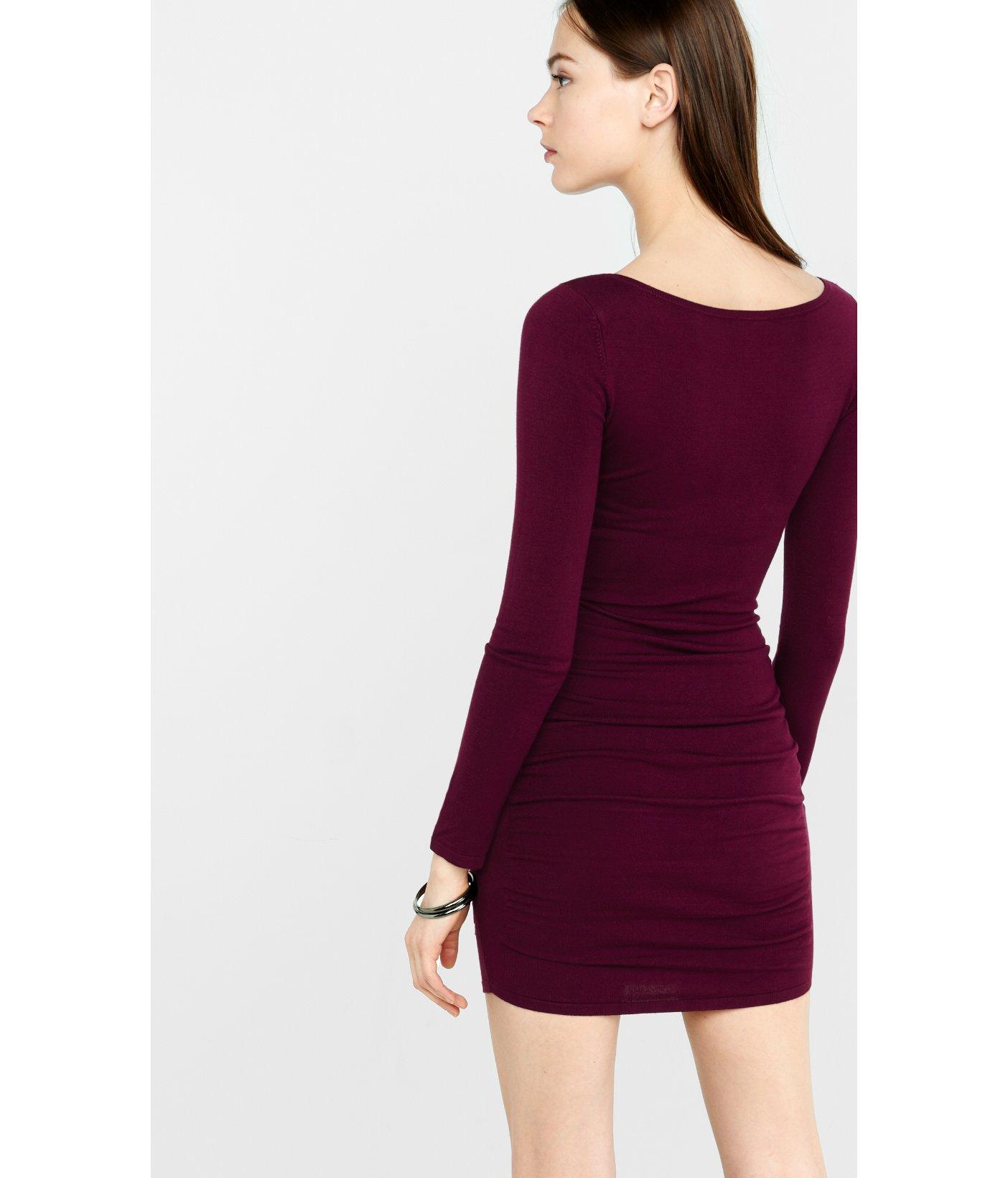 Express Crisscross Sweater Dress in Purple | Lyst
