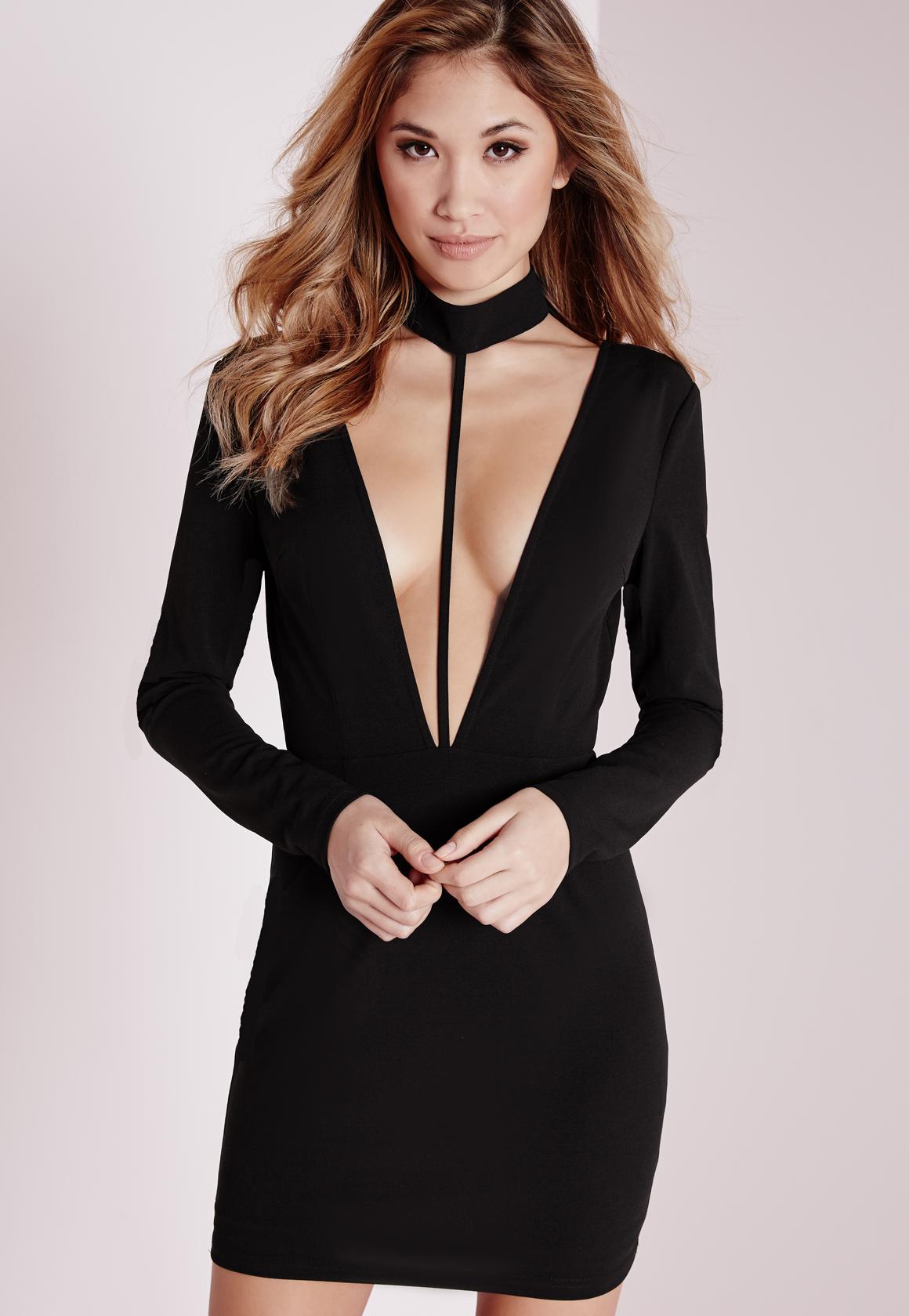 Lyst - Missguided Crepe Choker Long Sleeve Bodycon Dress Black in Black 7f75b6d49