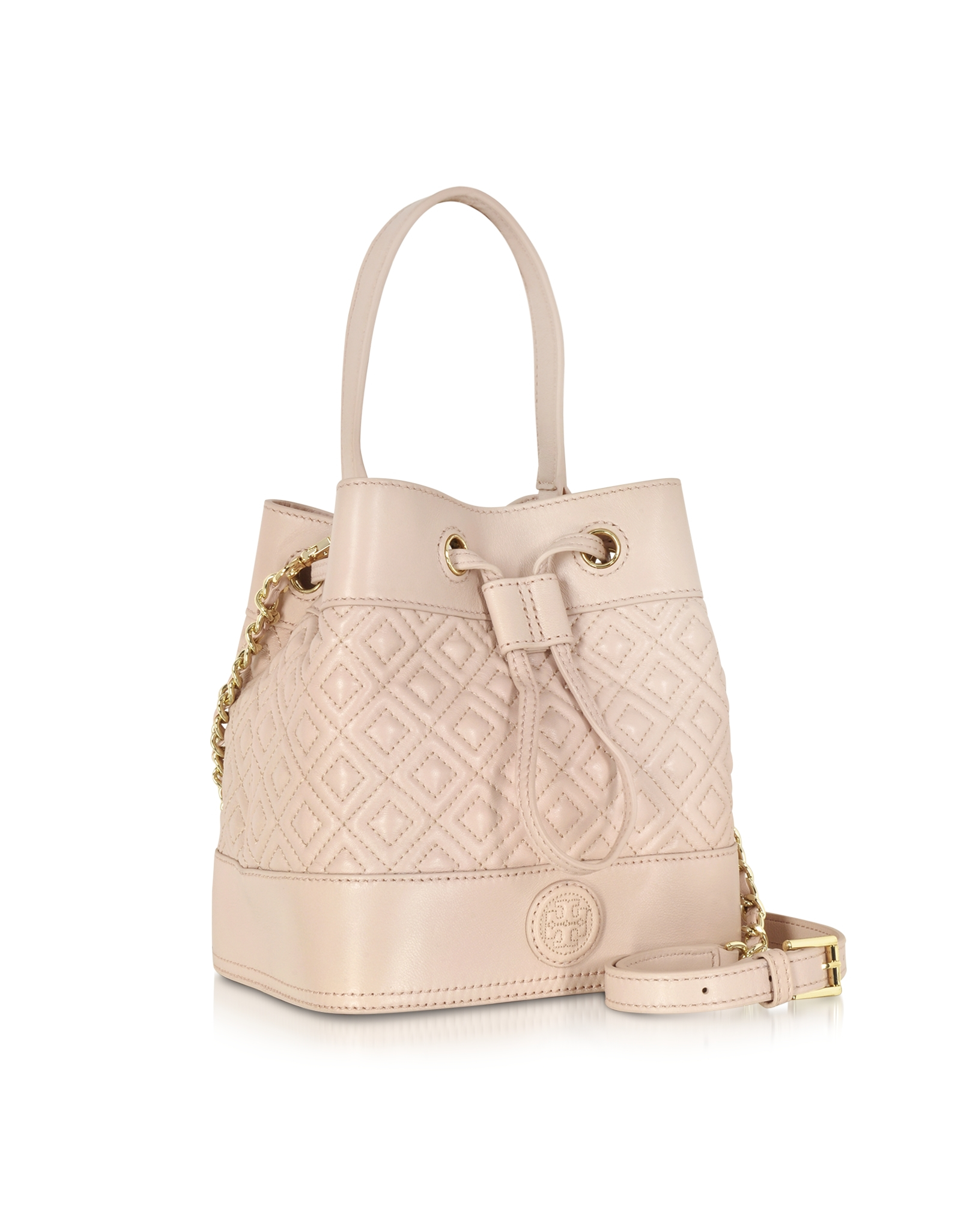 2ca557c69d4 Tory Burch Marion Light Oak Quilted Mini Bucket Bag in Natural - Lyst