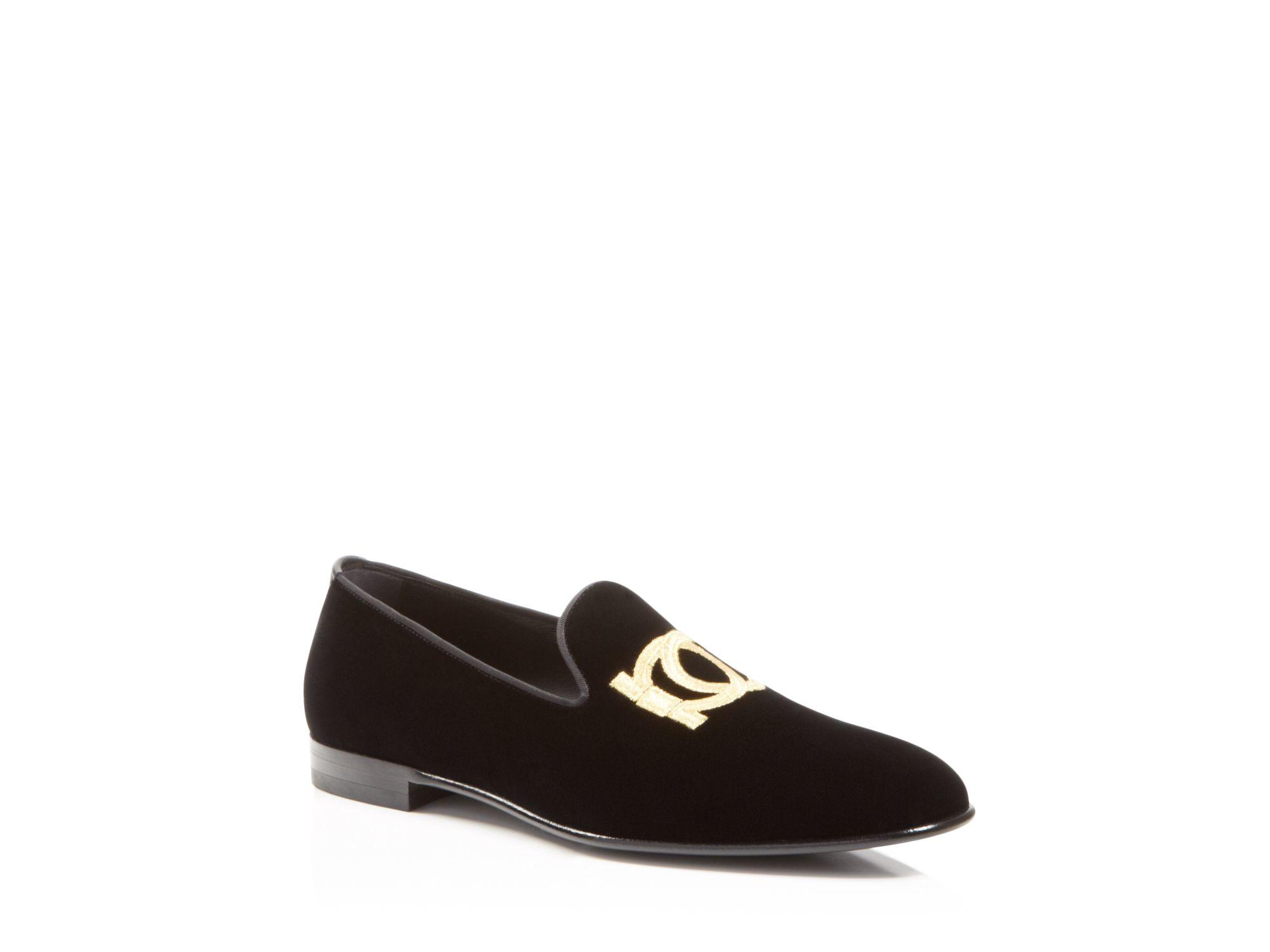 Lyst Ferragamo Manathan Velvet Smoking Slippers In Black
