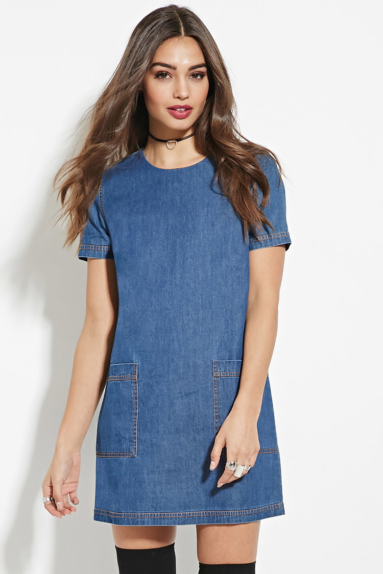 Lyst forever 21 chambray shift dress in blue for Chambray dress