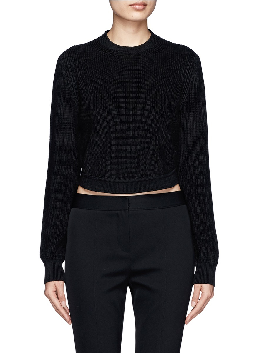 Givenchy High-low Long-sleeve Shrug Sweater in Black | Lyst