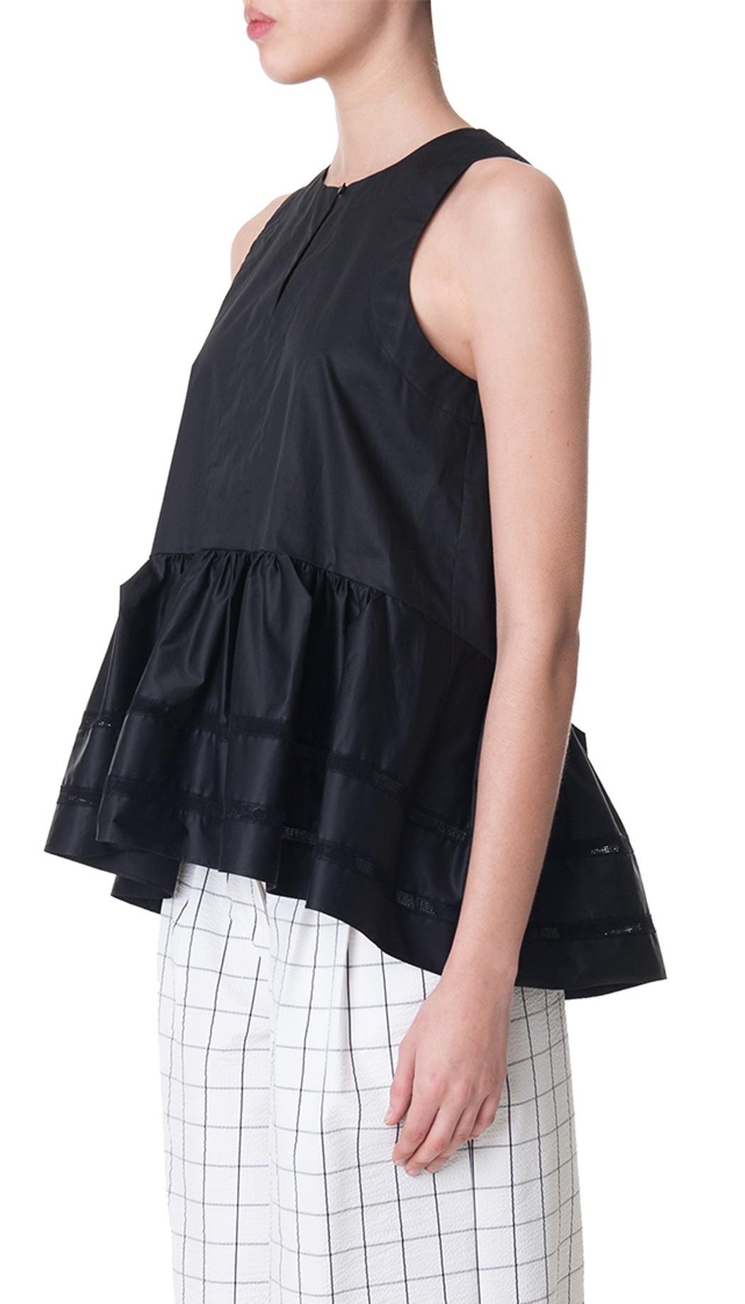 Lyst - Tibi Satin Poplin Origami Sleeveless Top in Black - photo#6