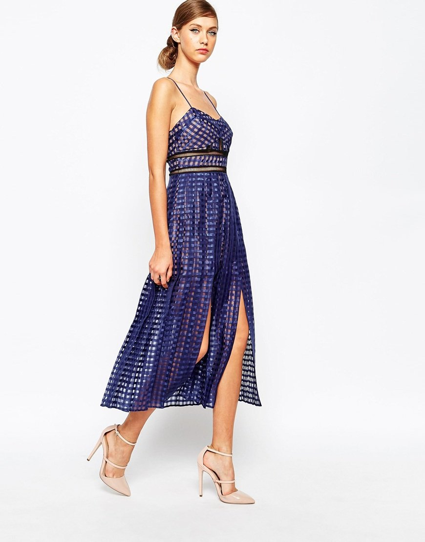 Self portrait sheer check cami midi dress with pleated for Bebe dresses wedding guest