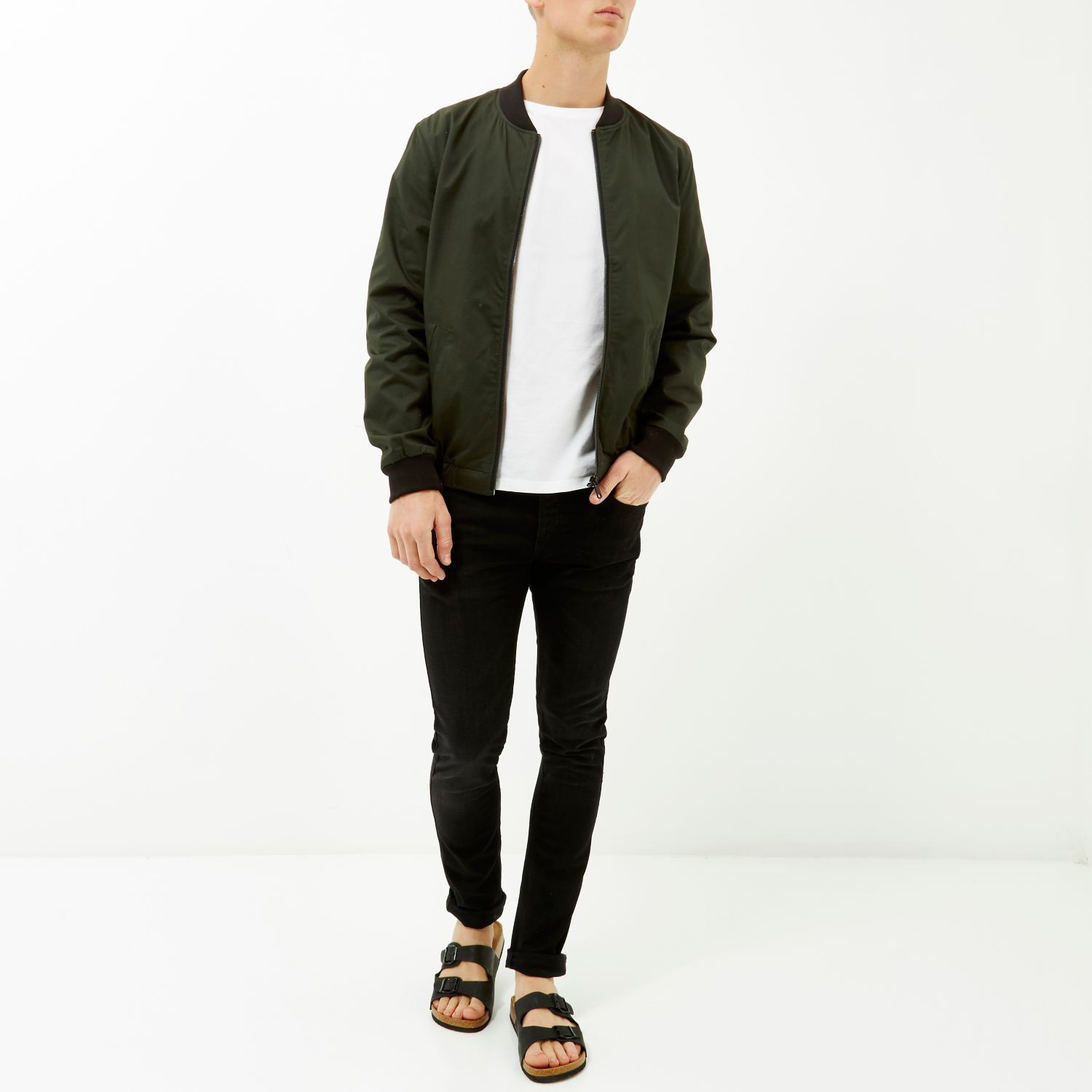 River island Dark Green Casual Contrast Neck Bomber Jacket in ...