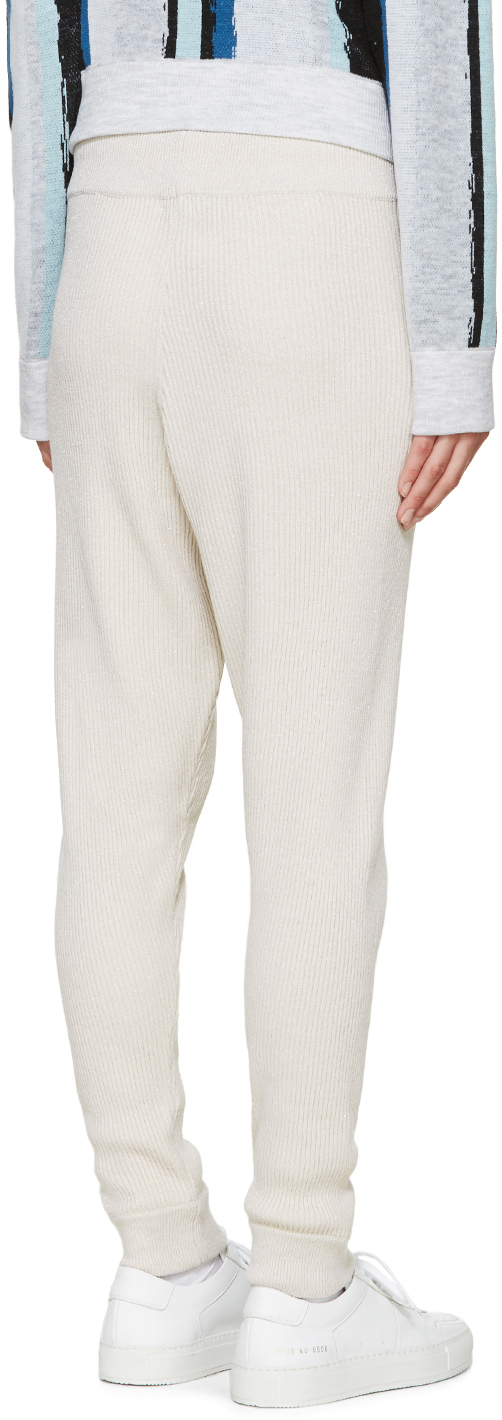 Baja East Beige Merino Ribbed Lounge Pants In Natural Lyst