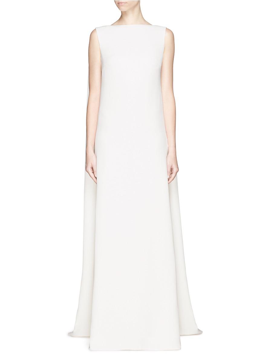 5eb2f0bf55 Valentino Cape Back Silk Cady Gown in White - Lyst