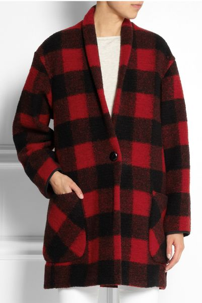 etoile isabel marant gabrie plaid woolblend coat in red lyst. Black Bedroom Furniture Sets. Home Design Ideas