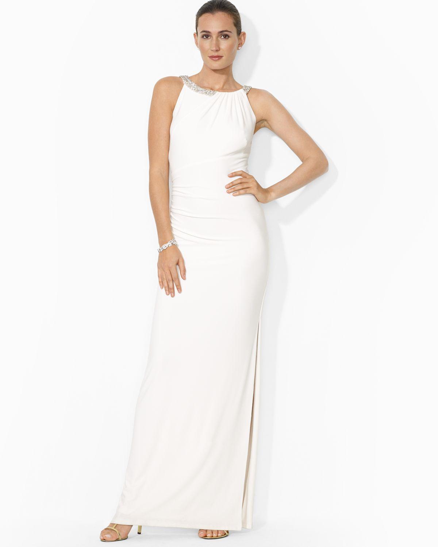 Lyst - Ralph Lauren Lauren Gown Beaded Neckline Jersey in White