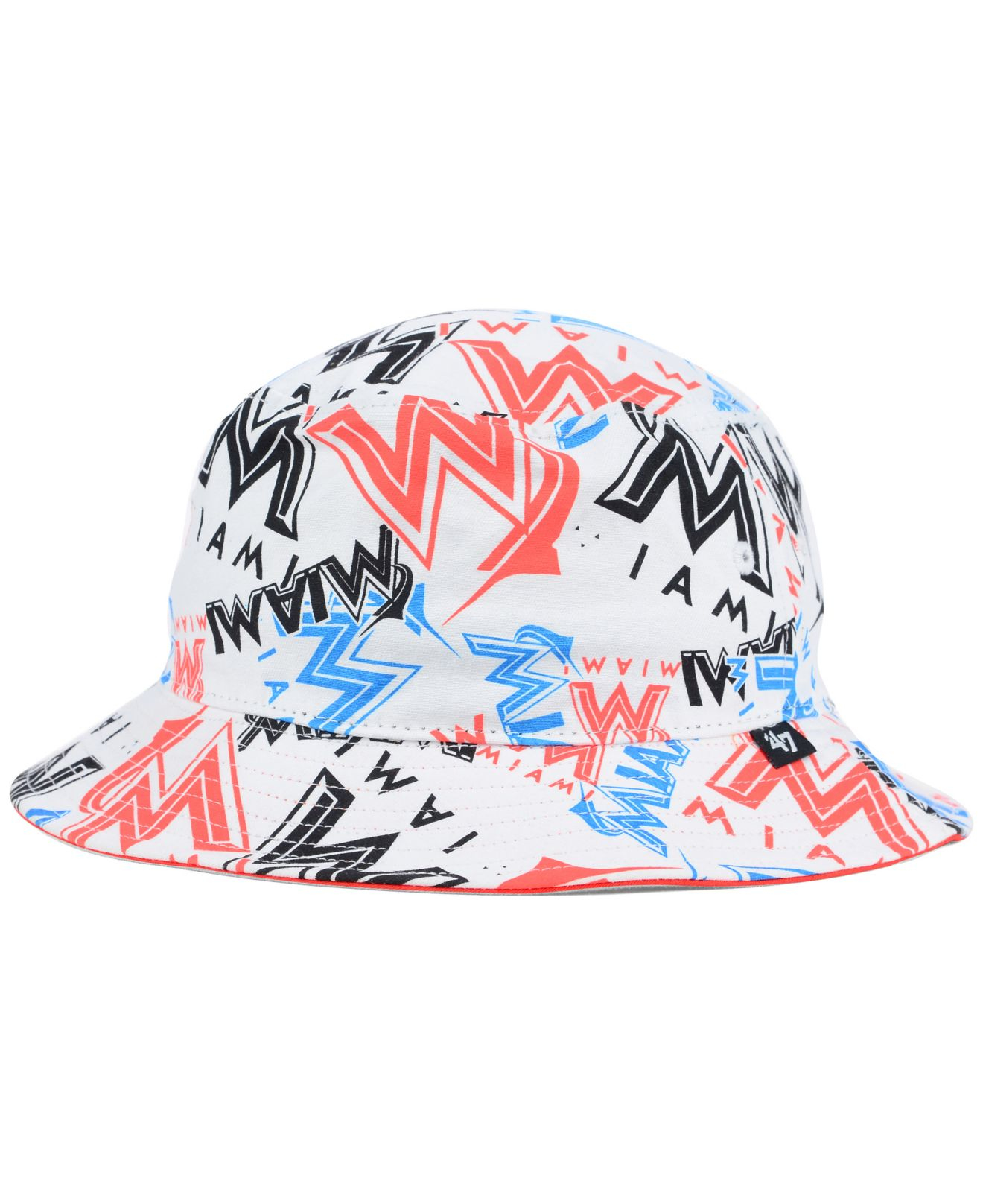 new style 66b71 2bbc7 ... uk lyst 47 brand miami marlins bravado bucket hat in white for men  4af7a 82d20