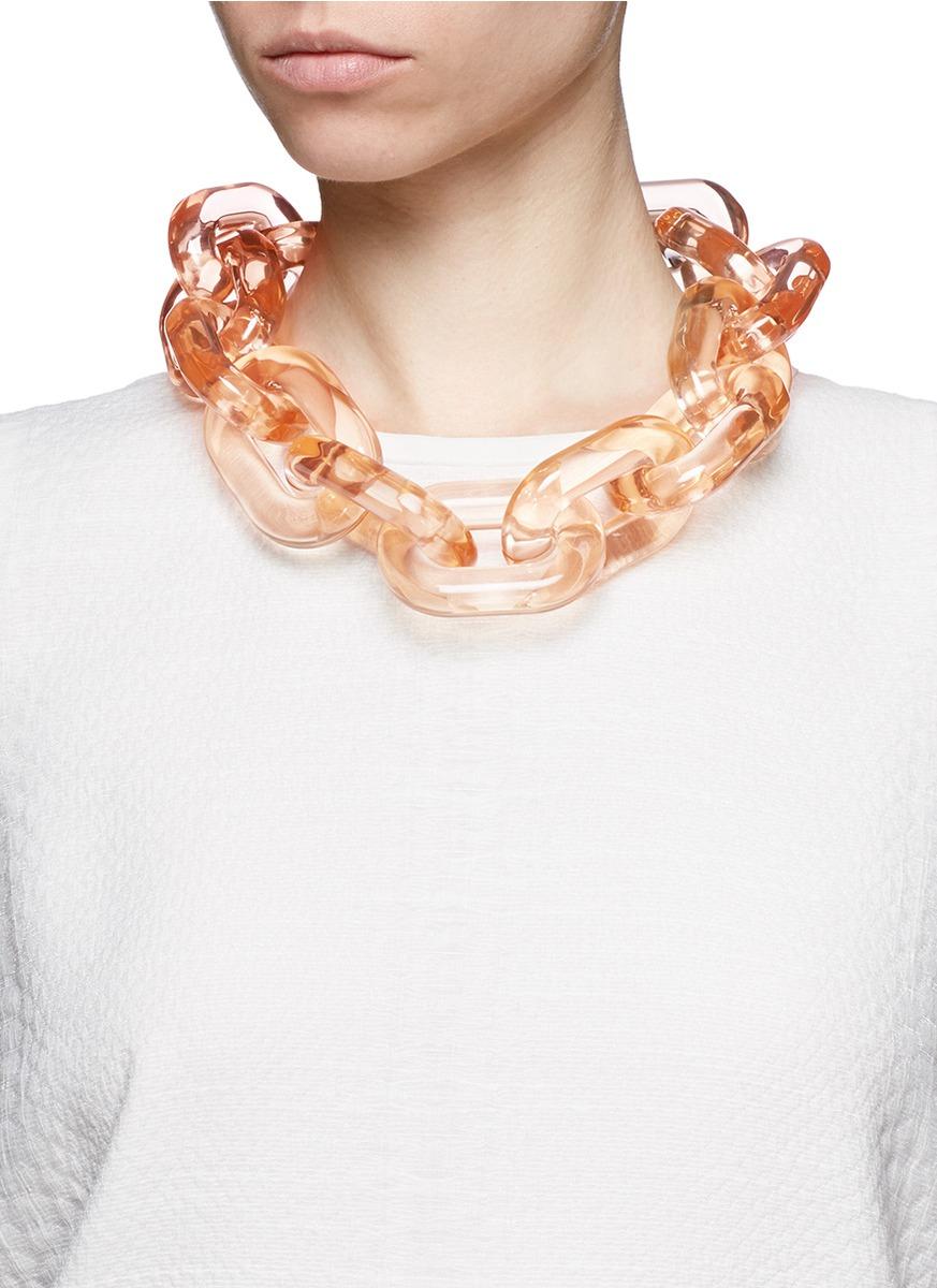 Lyst Stella Mccartney Chunky Link Plexiglas Necklace In
