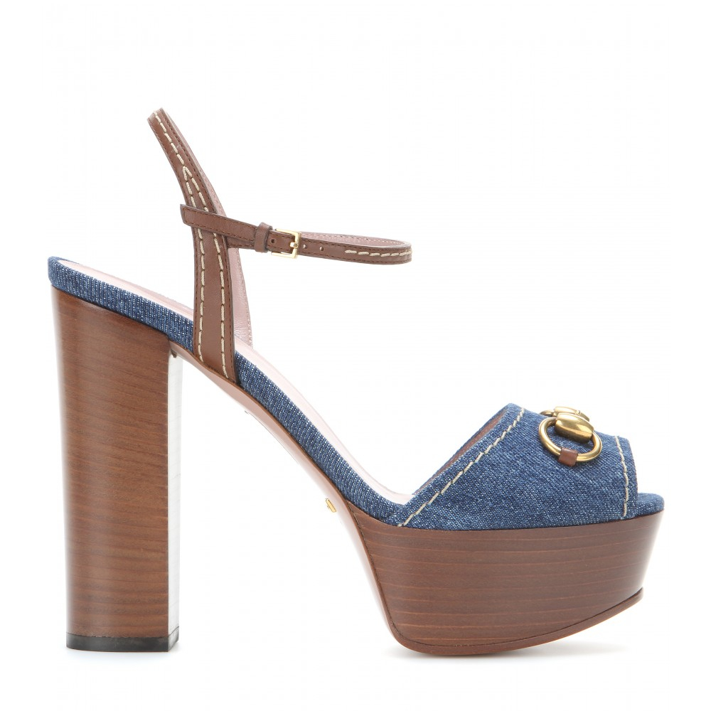730eb013ddbdc Lyst - Gucci Denim And Leather Platform Sandals in Blue
