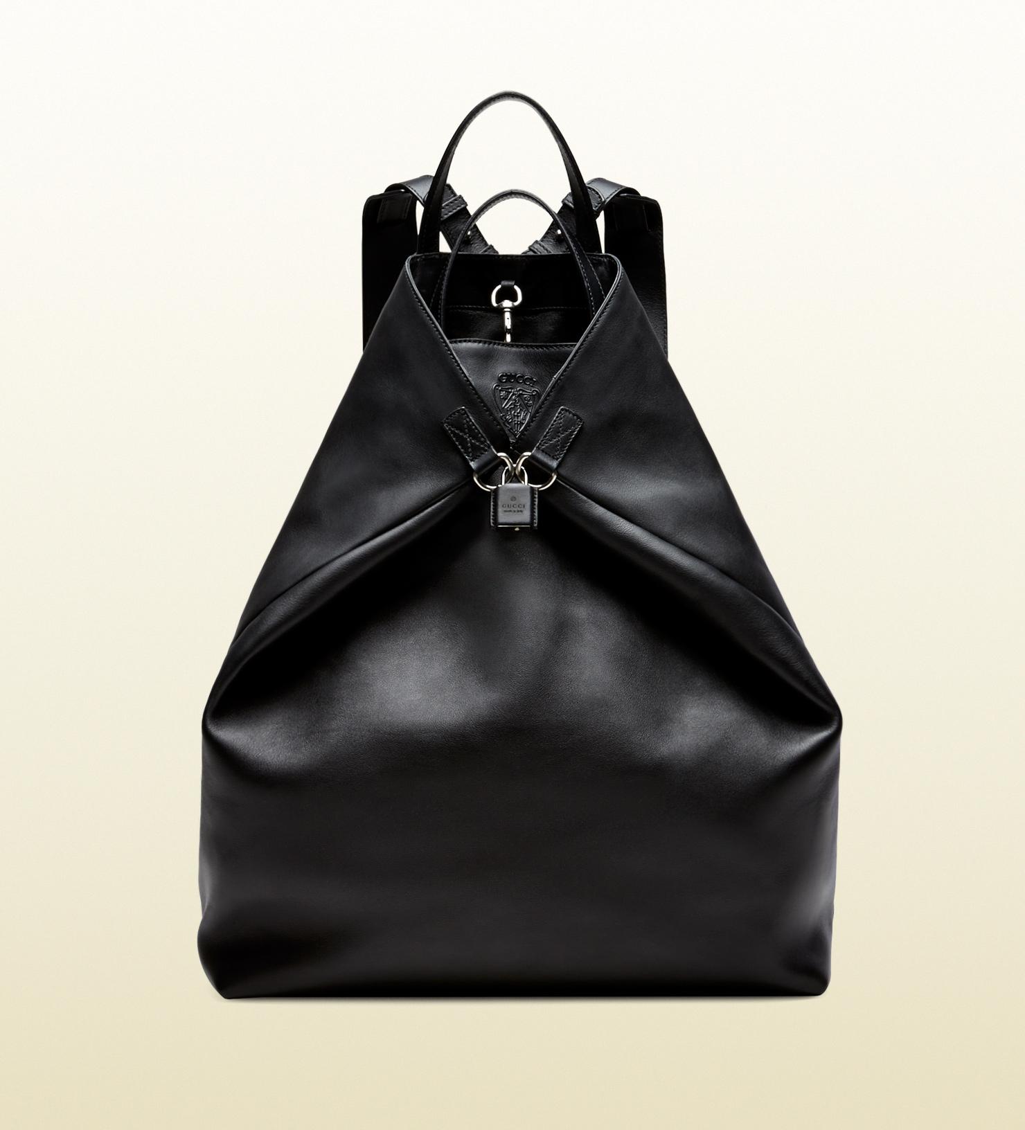 Gucci Gactive Large Black Leather Backpack in Black for Men | Lyst