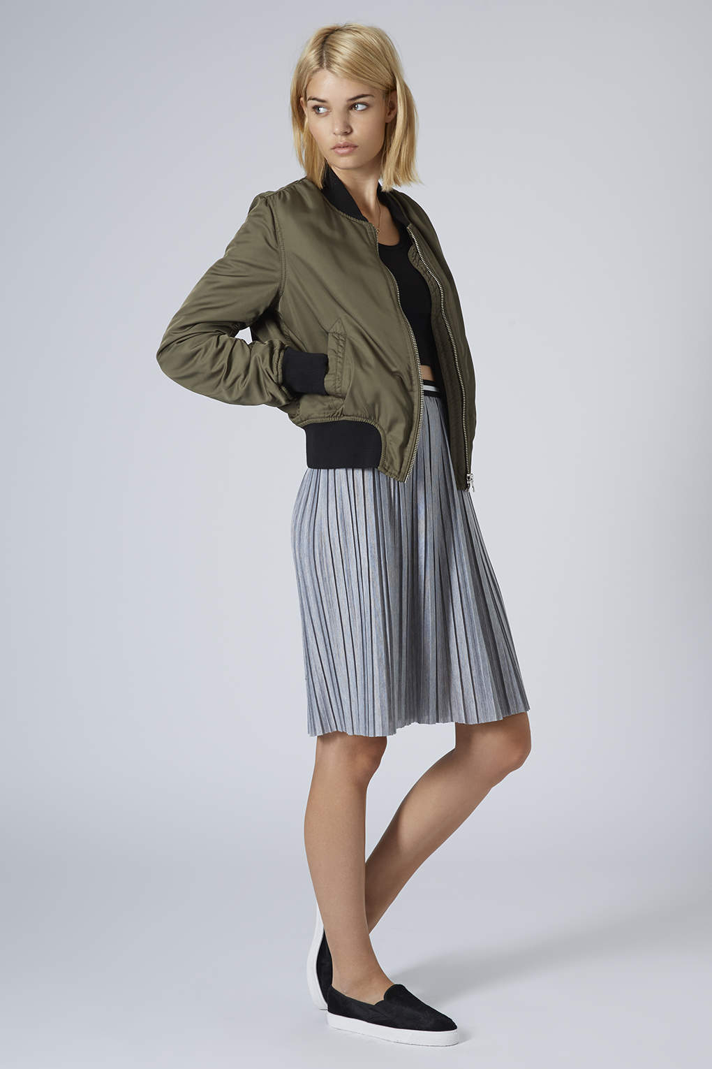 Topshop Jersey Pleated Sporty Midi Skirt Grey Marl in Gray | Lyst