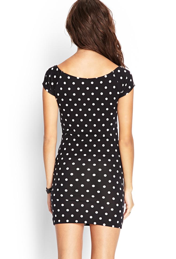 Forever 21 Polka Dot Bodycon Dress In Black Lyst