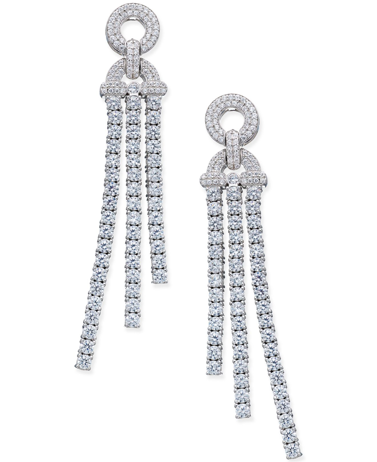 Macy s Diamond Dangle Drop Earrings 5 Ct T w In 14k White Gold