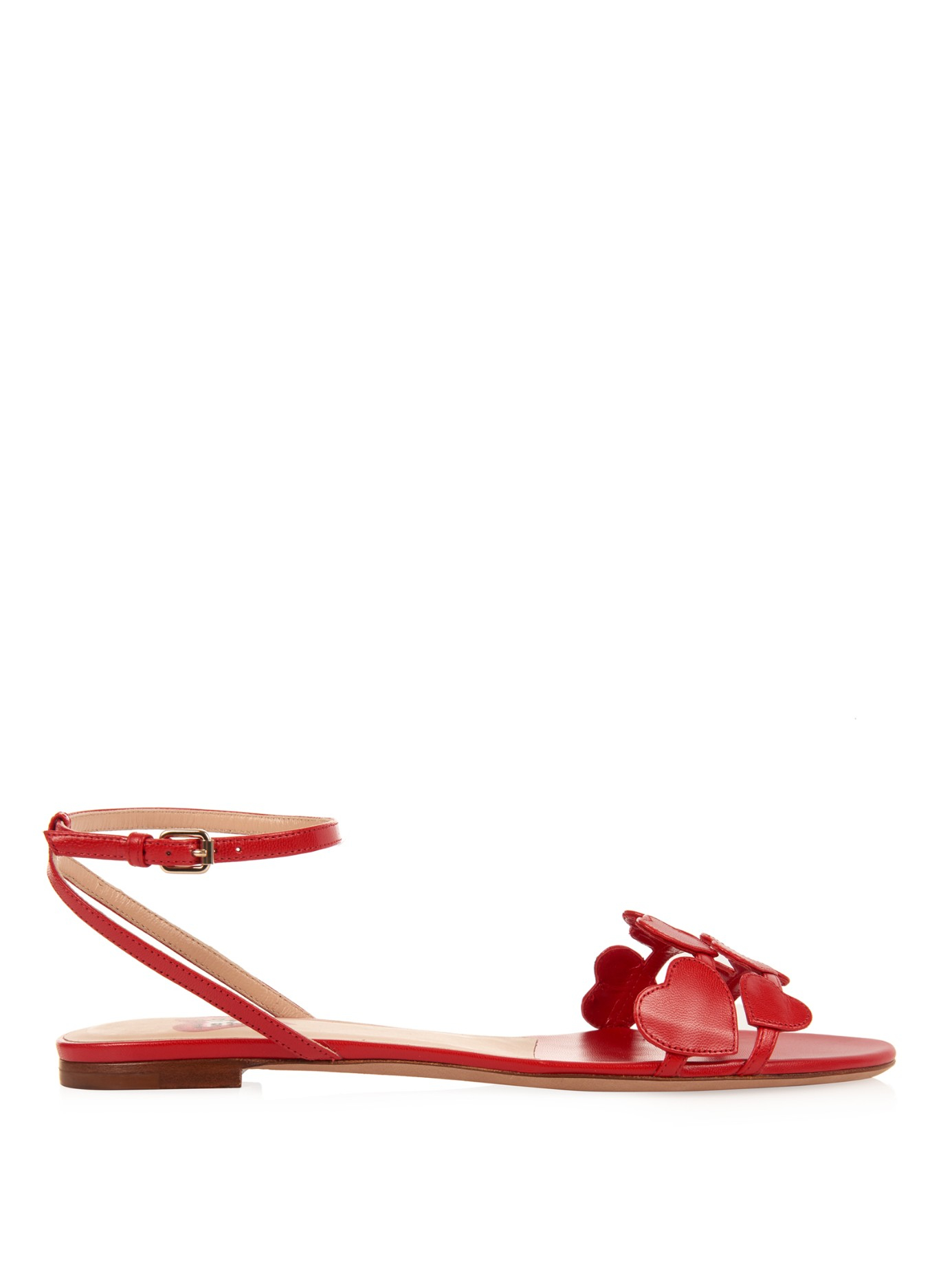 Valentino L Amour Leather Flat Sandals In Red Lyst