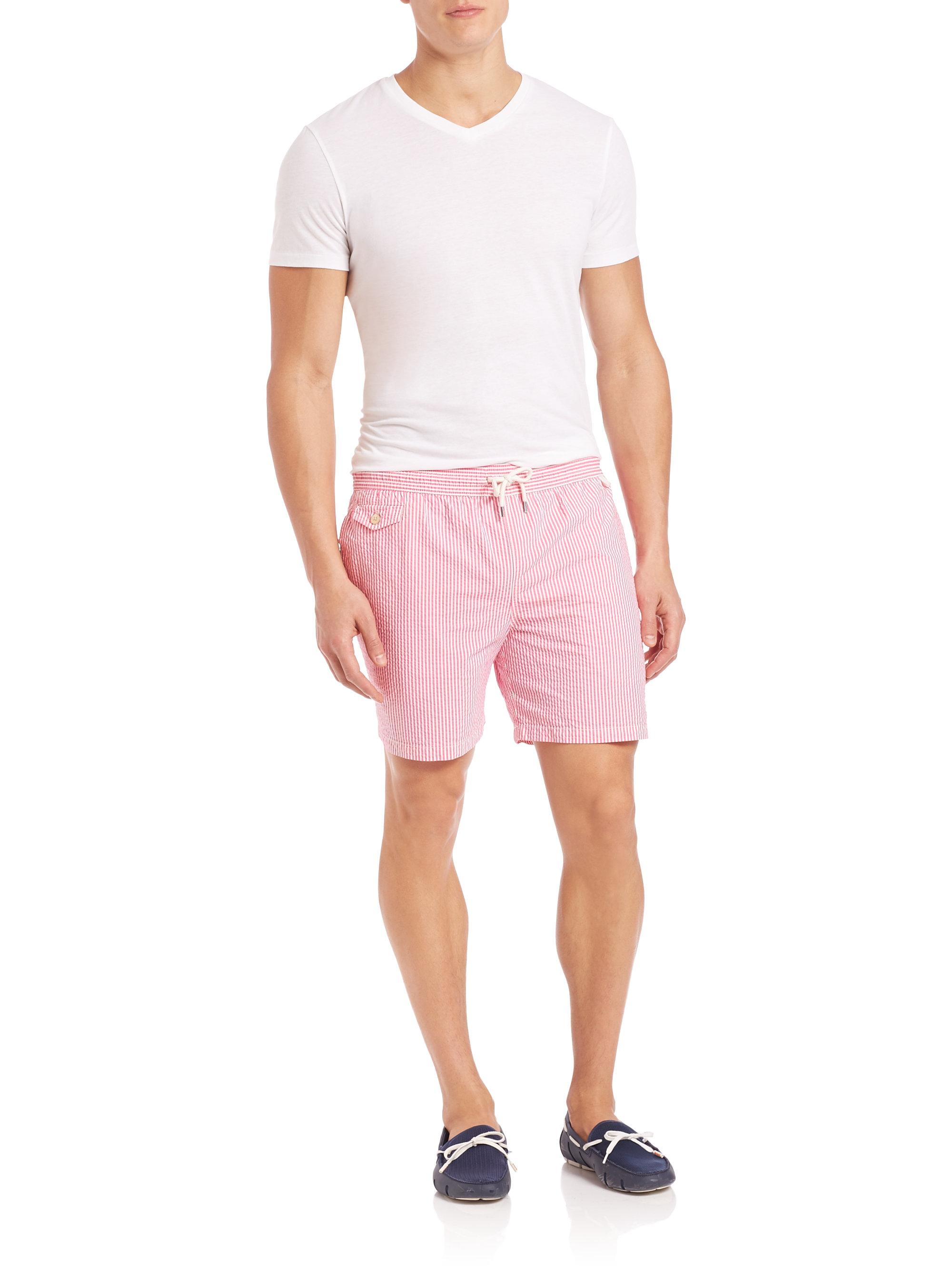 0f2974f81c Polo Ralph Lauren Seersucker Traveler Swim Shorts in Pink for Men - Lyst