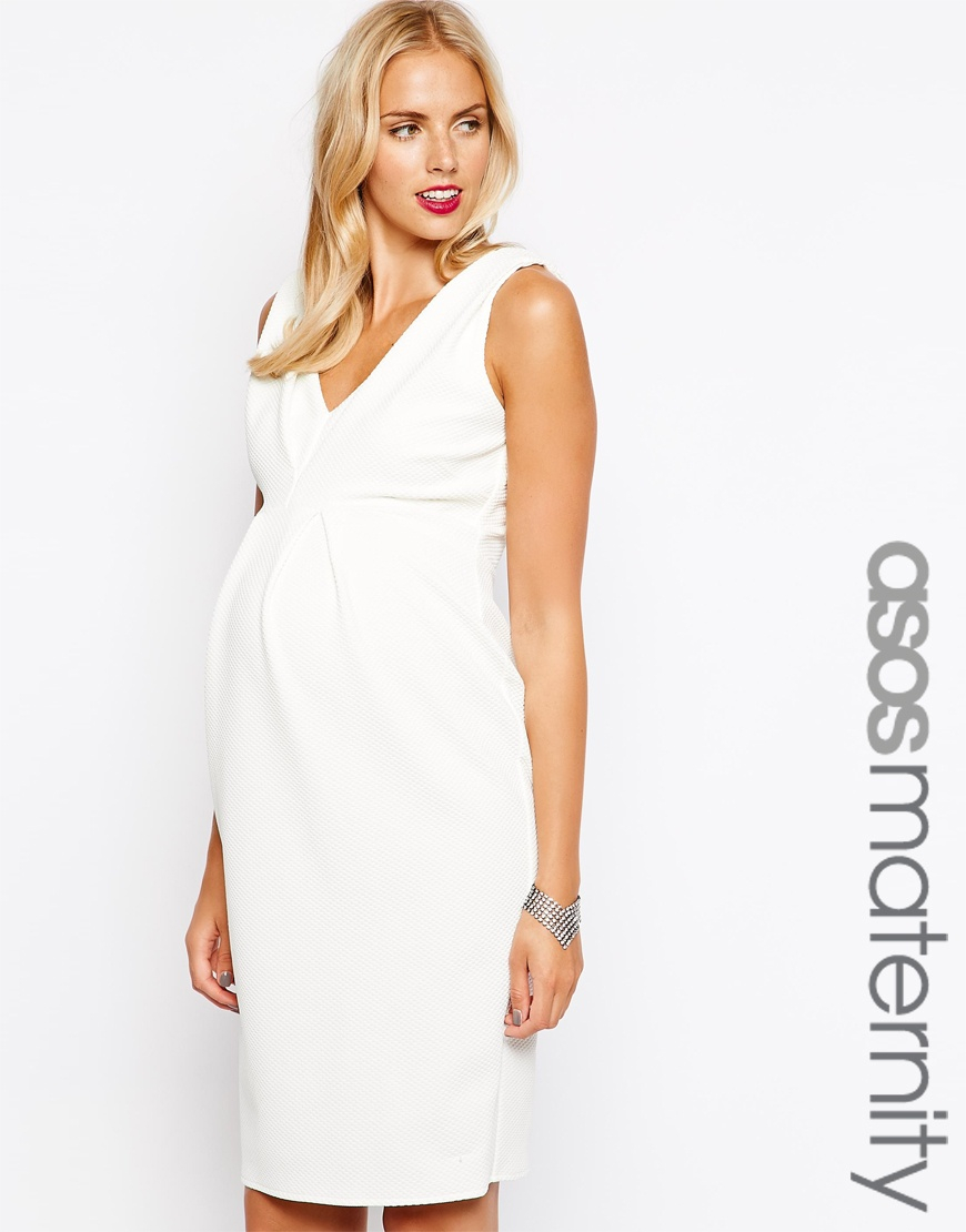 ff5585e018f13 ASOS Pencil Dress In Texture With Double V Neck in White - Lyst