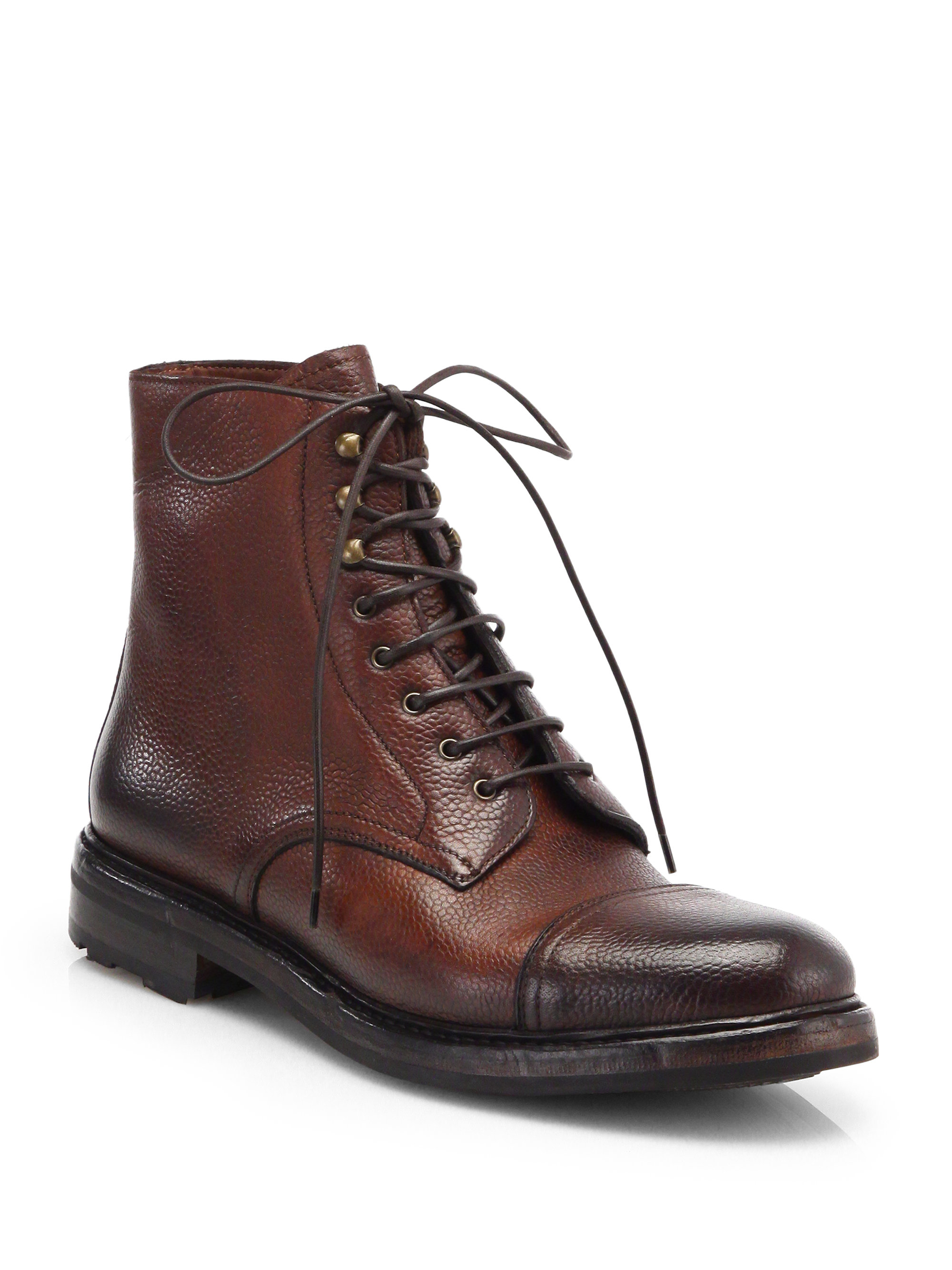 ralph mundesley distressed leather lace up boots in