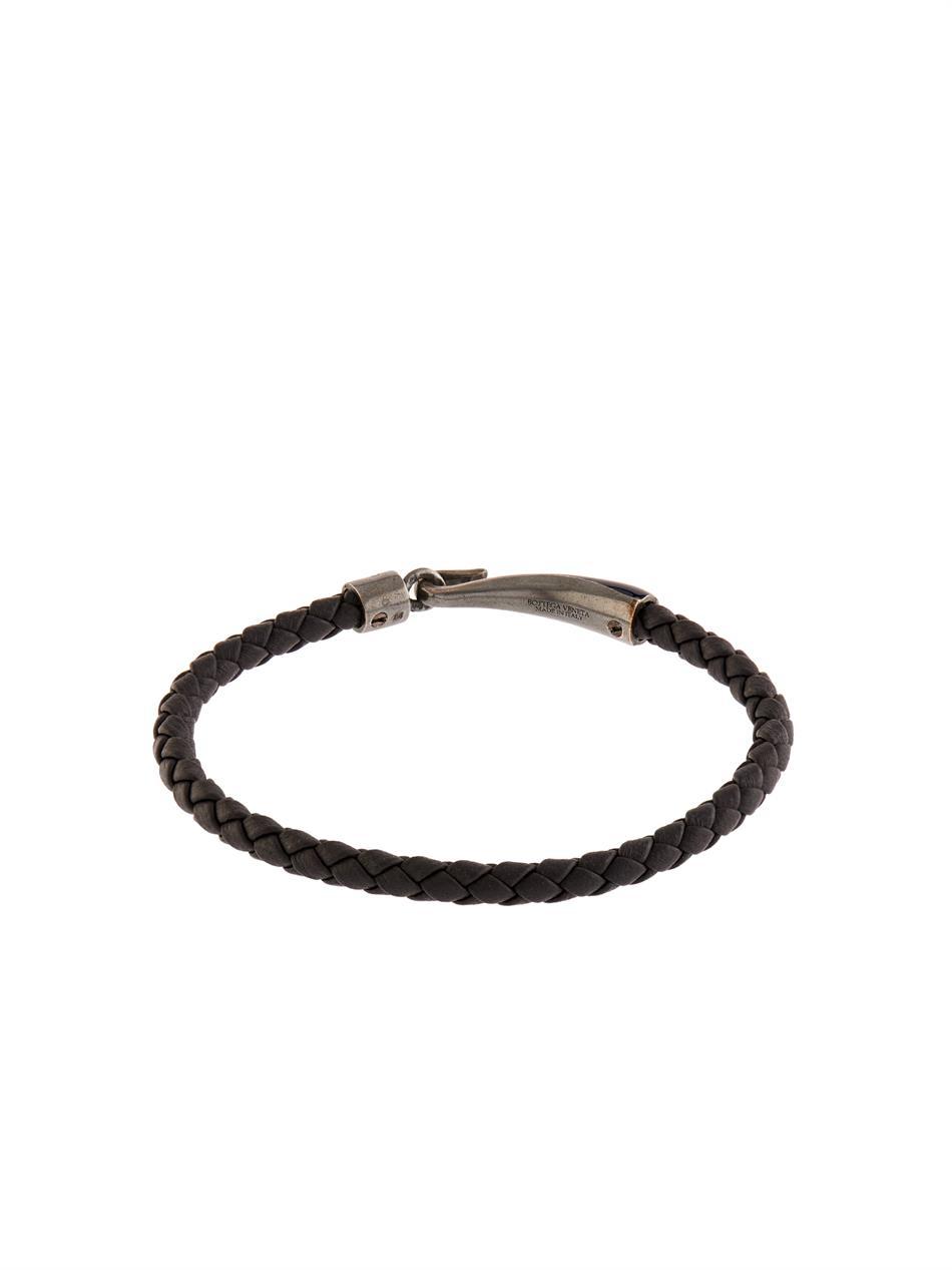 1e7179753c311 Bottega Veneta Intrecciato Leather And Silver Bracelet - Ontario ...