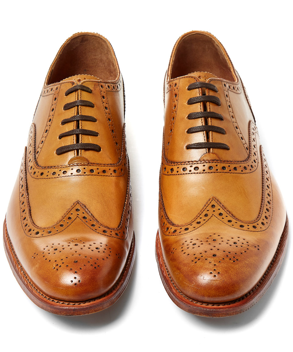 Tan Dylan Leather Wingtip Oxfords Grenson