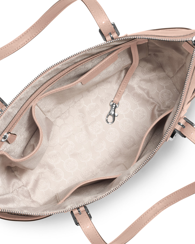 845d4f2fd4df Lyst - MICHAEL Michael Kors Jet Set Top-zip Saffiano Tote Bag in Pink
