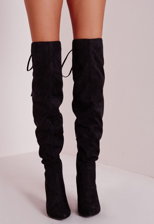 5d063bbfa81 Missguided Heeled Knee High Tie Back Boots Black in Black - Lyst