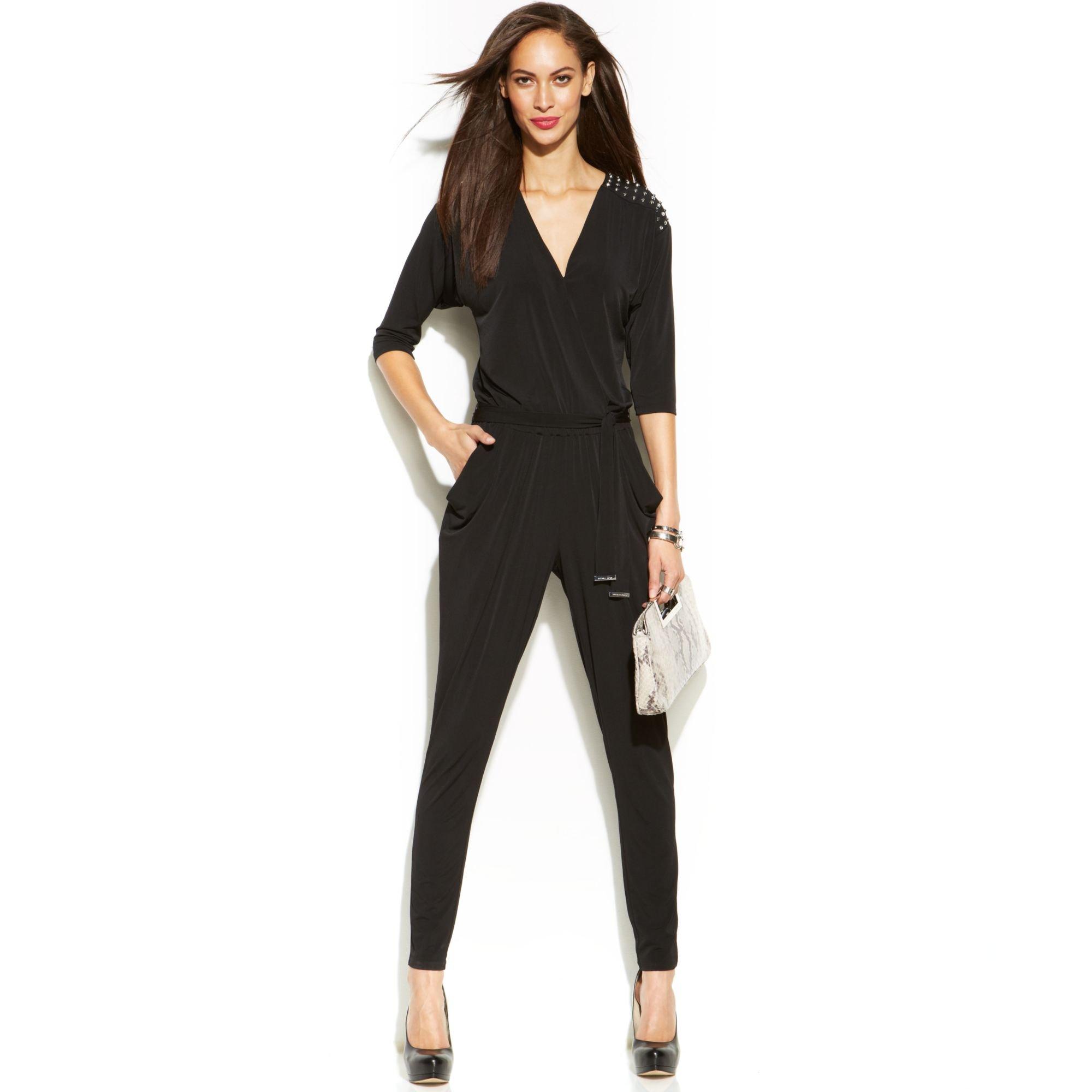 michael kors michael slimleg studded jumpsuit in black lyst. Black Bedroom Furniture Sets. Home Design Ideas