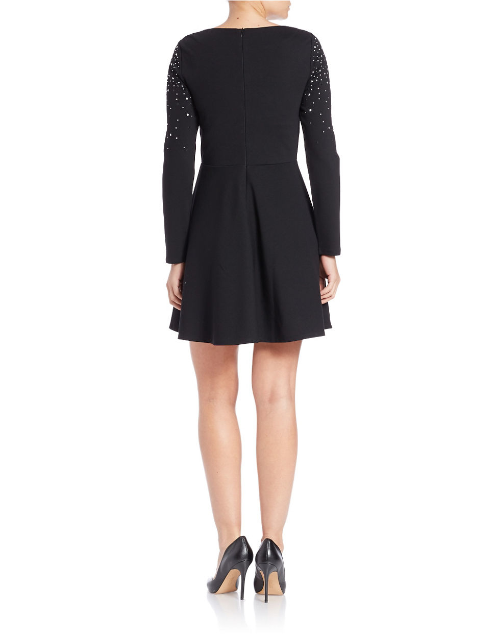 Lyst Lord Amp Taylor Embellished Fit And Flare Dress In Black