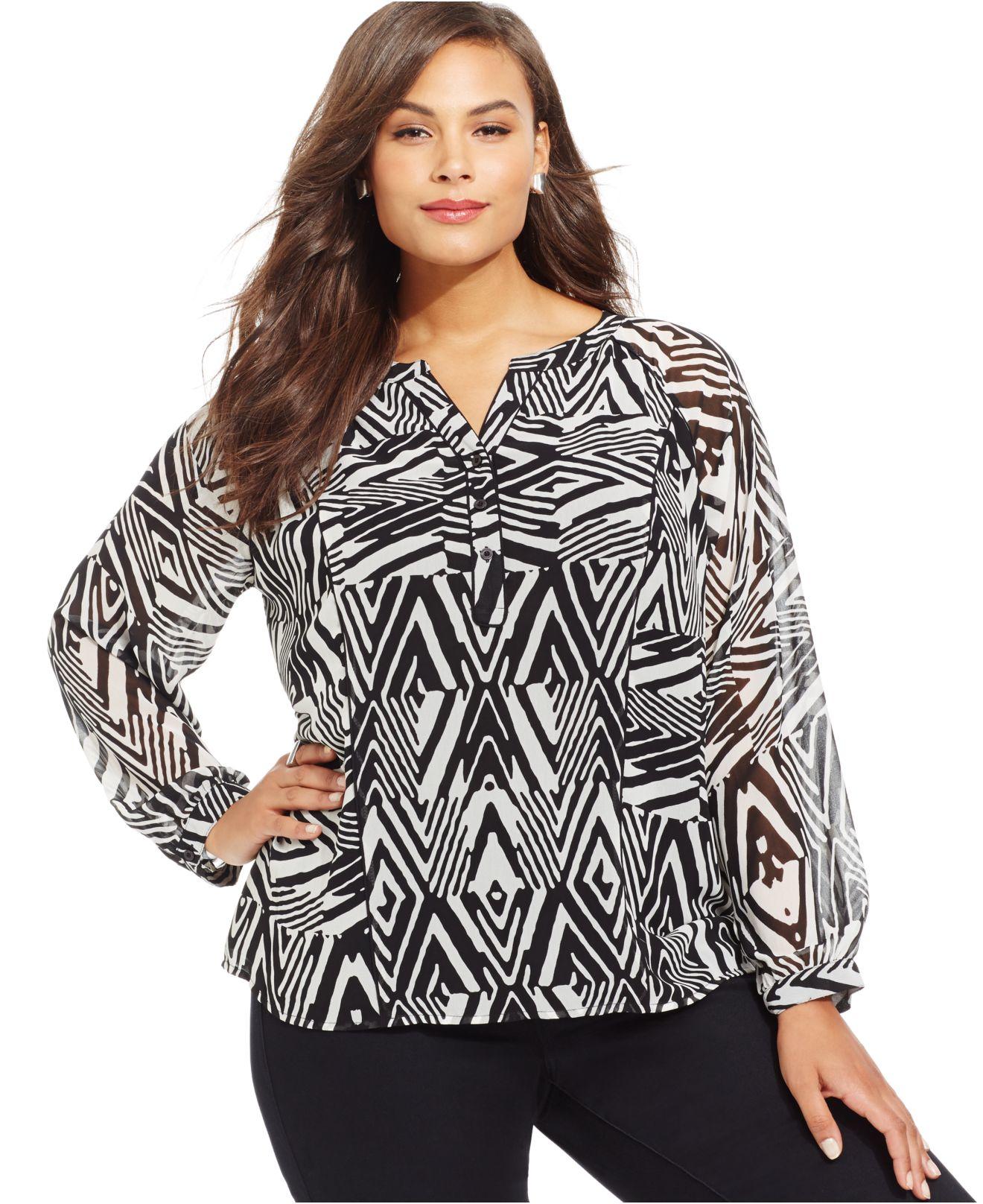 d712c143146 Lyst - Calvin Klein Plus Size Printed Peasant Blouse in Black